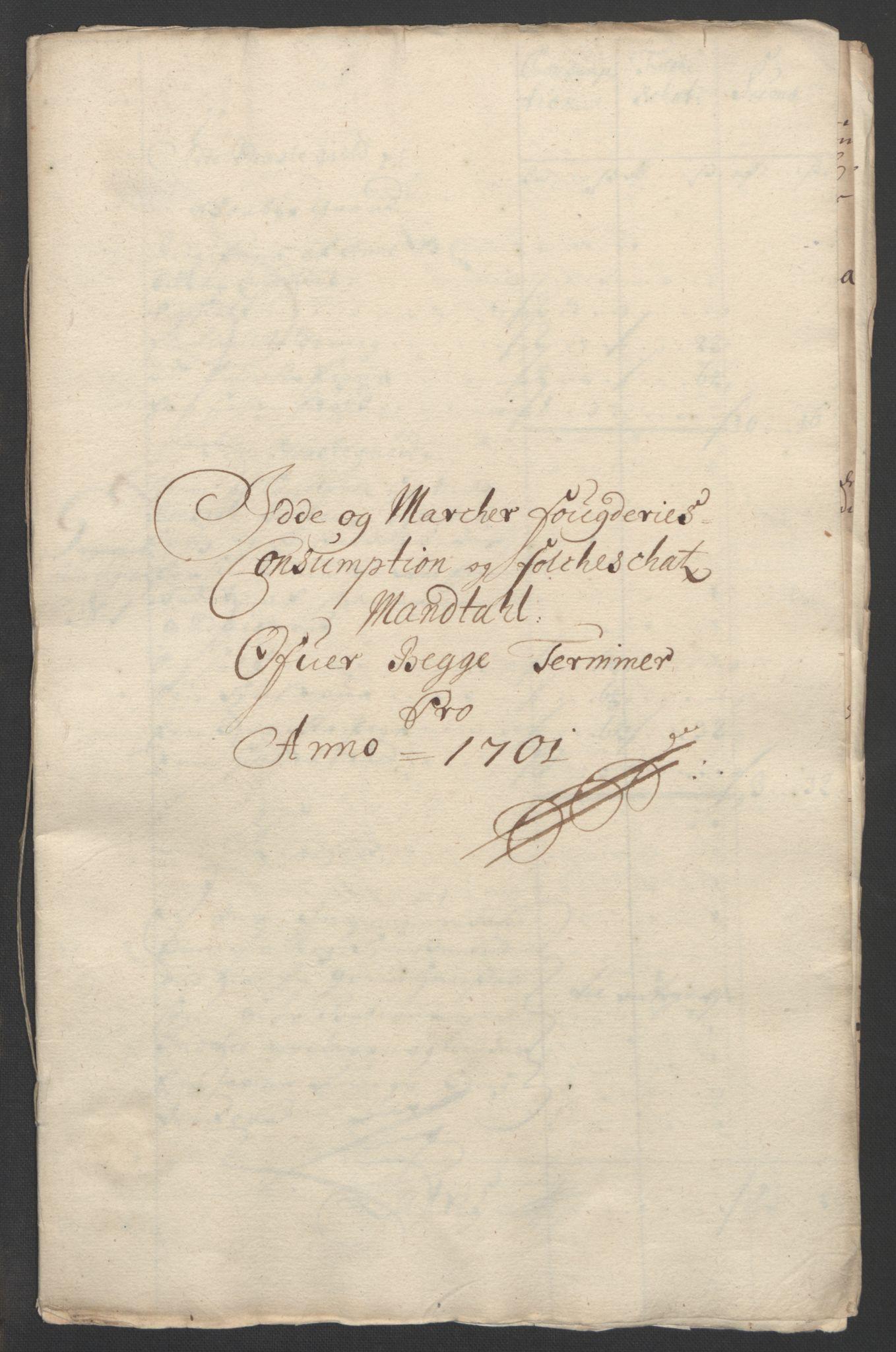 RA, Rentekammeret inntil 1814, Reviderte regnskaper, Fogderegnskap, R01/L0015: Fogderegnskap Idd og Marker, 1700-1701, s. 285