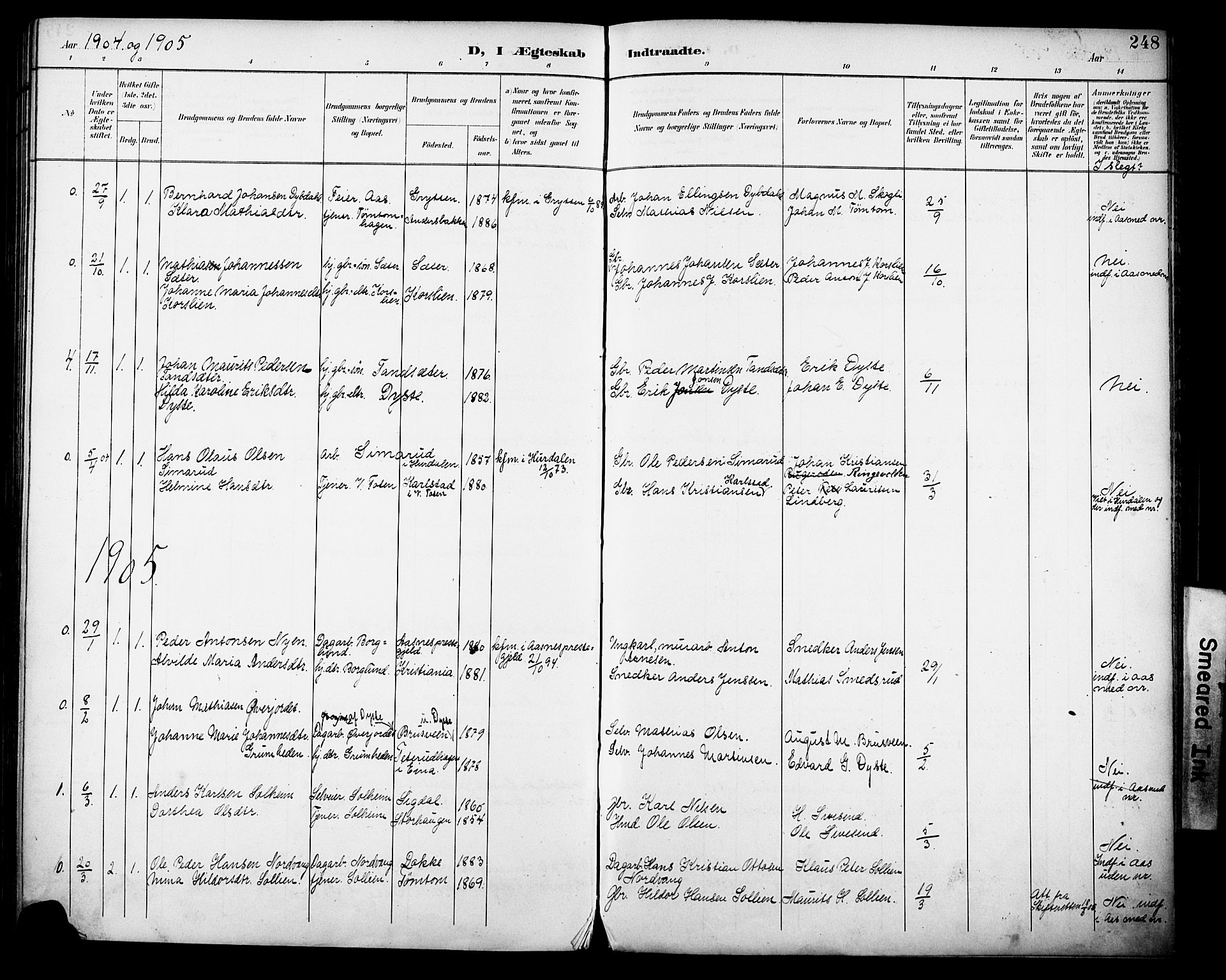 SAH, Vestre Toten prestekontor, H/Ha/Haa/L0013: Ministerialbok nr. 13, 1895-1911, s. 248