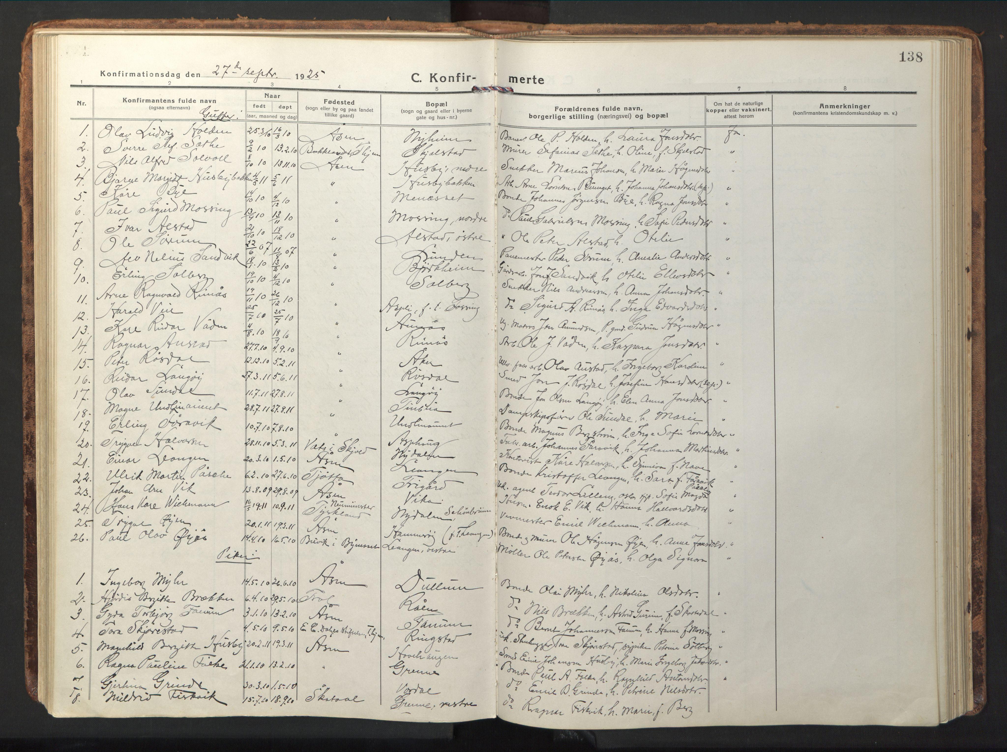 SAT, Ministerialprotokoller, klokkerbøker og fødselsregistre - Nord-Trøndelag, 714/L0136: Klokkerbok nr. 714C05, 1918-1957, s. 138