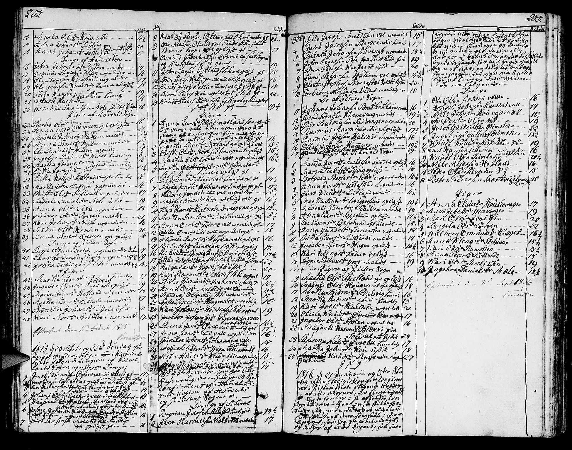 SAST, Hjelmeland sokneprestkontor, IV/L0002: Ministerialbok nr. A 2, 1799-1816, s. 202-203