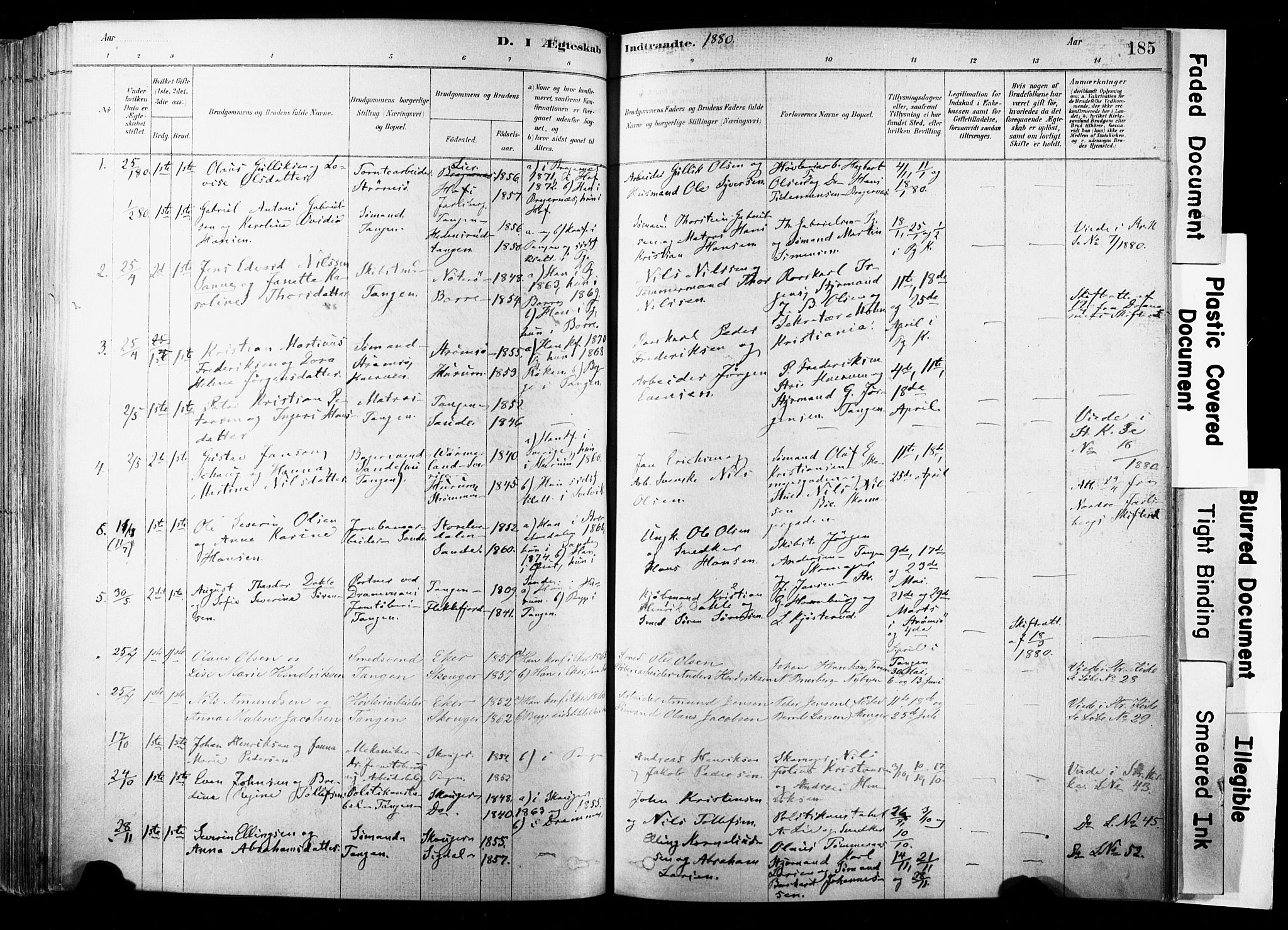 SAKO, Strømsø kirkebøker, F/Fb/L0006: Ministerialbok nr. II 6, 1879-1910, s. 185