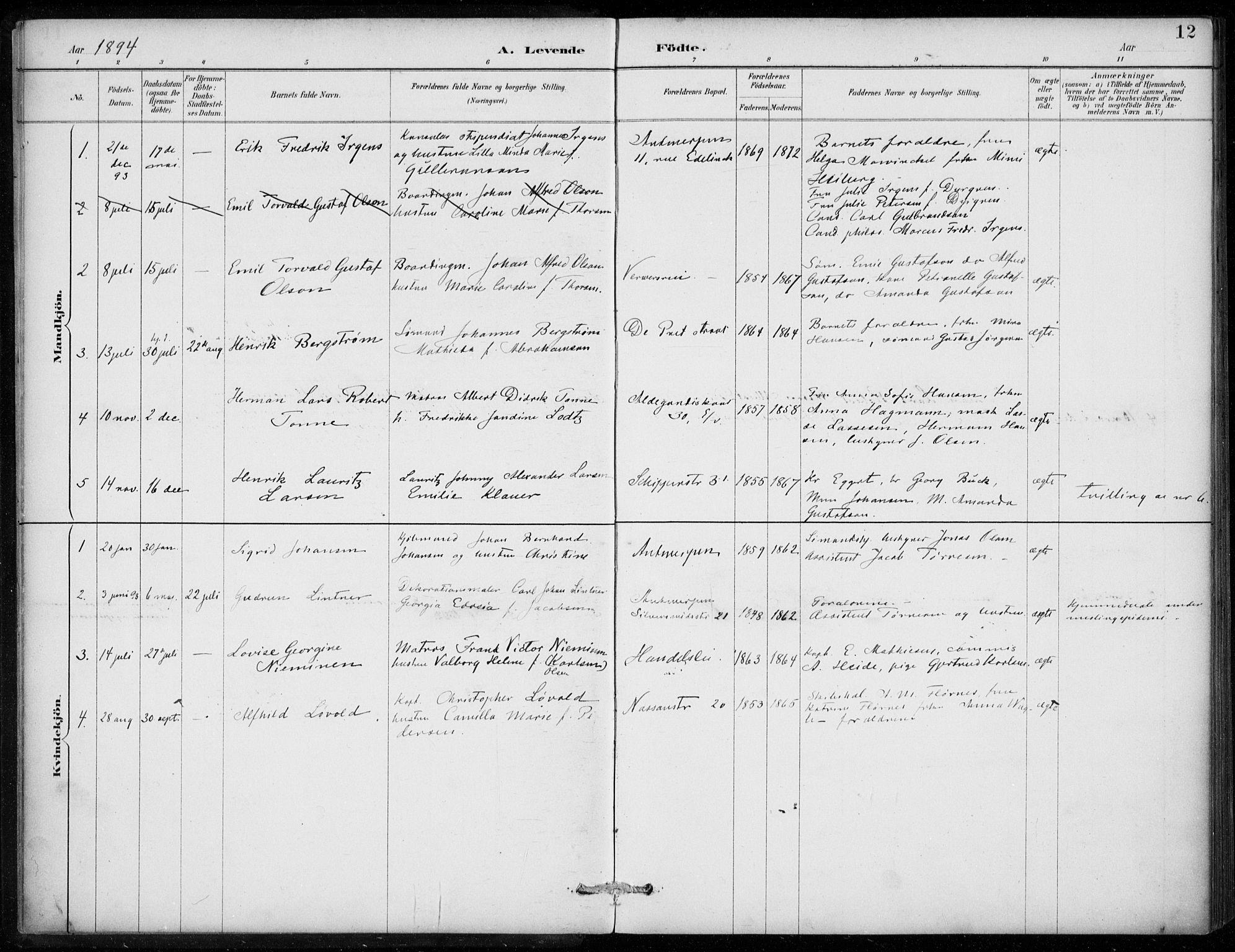 SAB, Den Norske Sjømannsmisjon i utlandet*, Ministerialbok nr. A 2, 1887-1913, s. 12