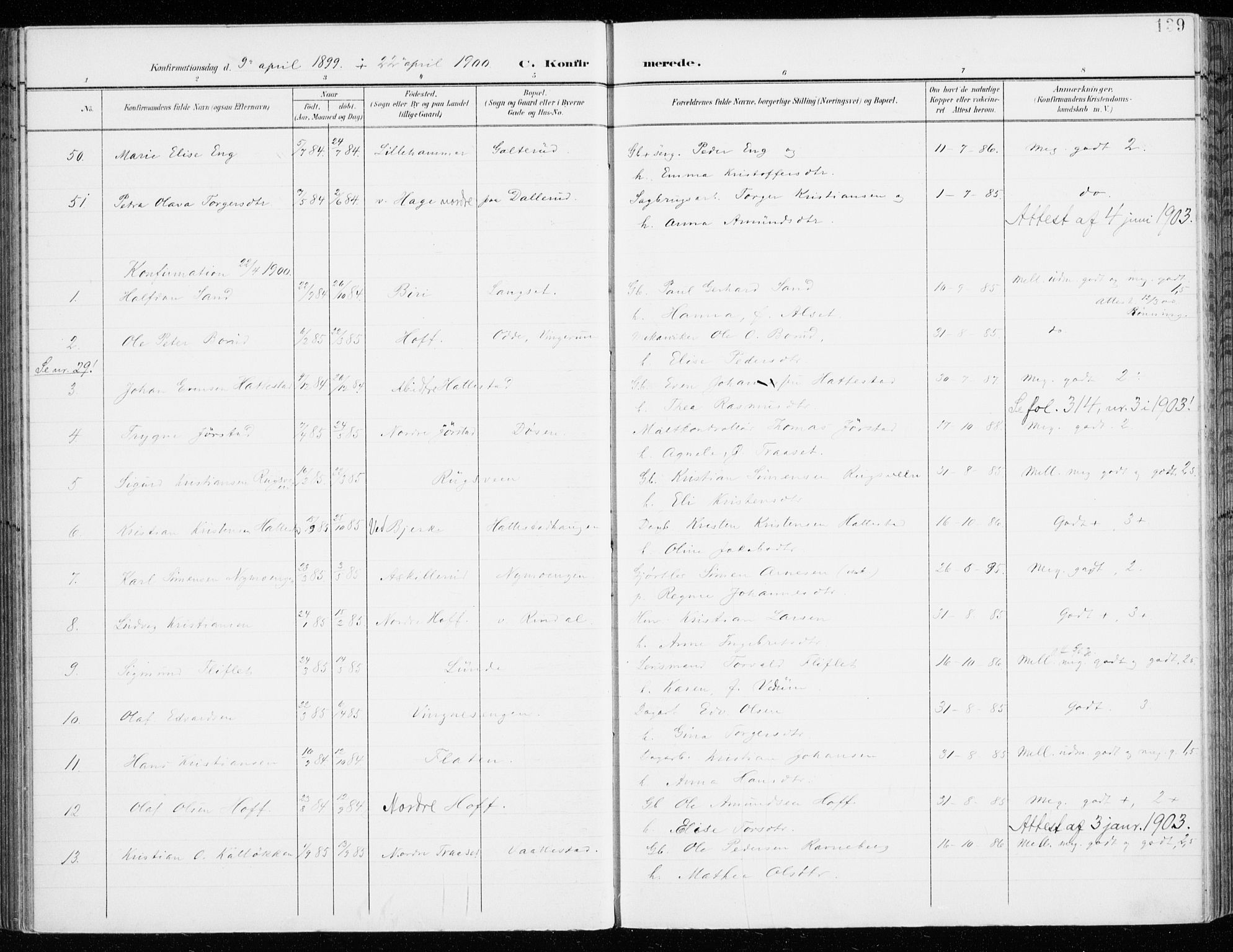 SAH, Fåberg prestekontor, Ministerialbok nr. 11, 1899-1913, s. 139