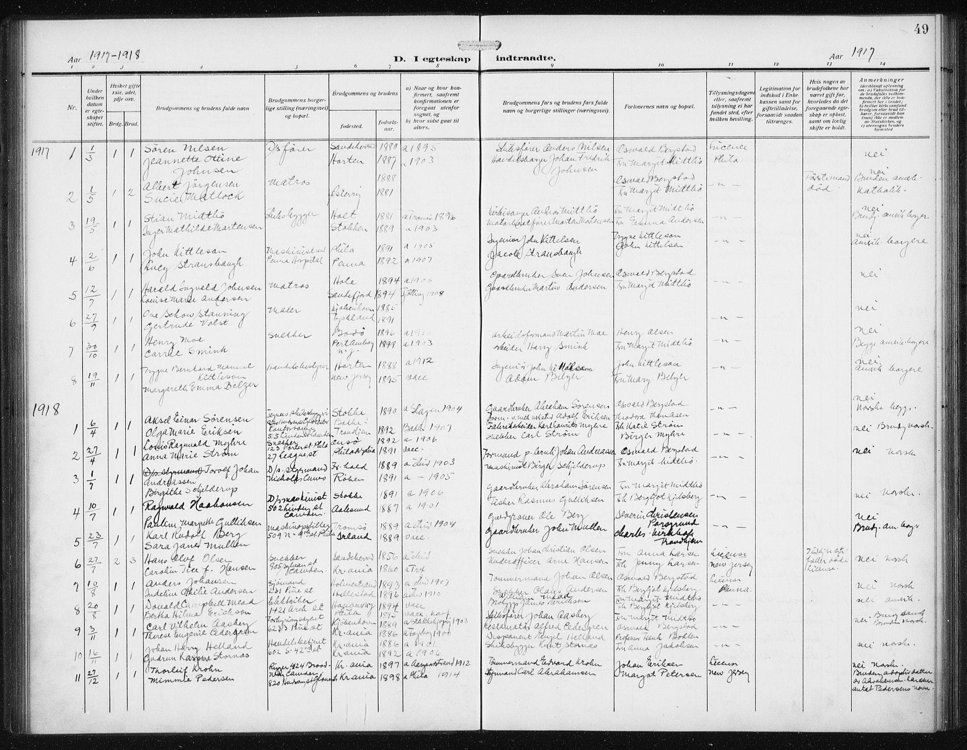 SAB, Privatarkiv 113 - Den norske sjømannsmisjon i utlandet/Philadelphia, H/Ha/L0001: Ministerialbok nr. A 1, 1912-1931, s. 49