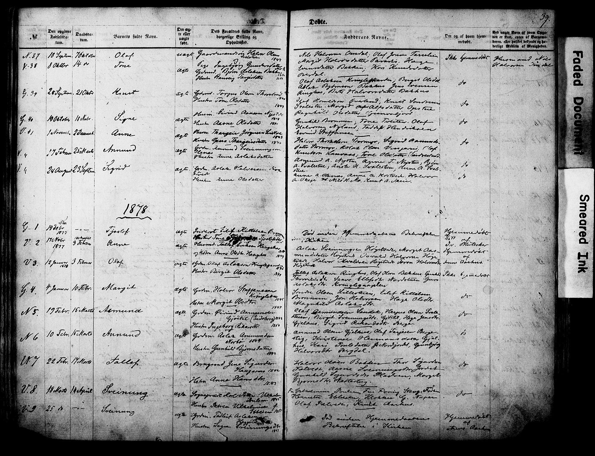 SAKO, Vinje kirkebøker, F/Fa/L0005: Ministerialbok nr. I 5, 1870-1886, s. 39