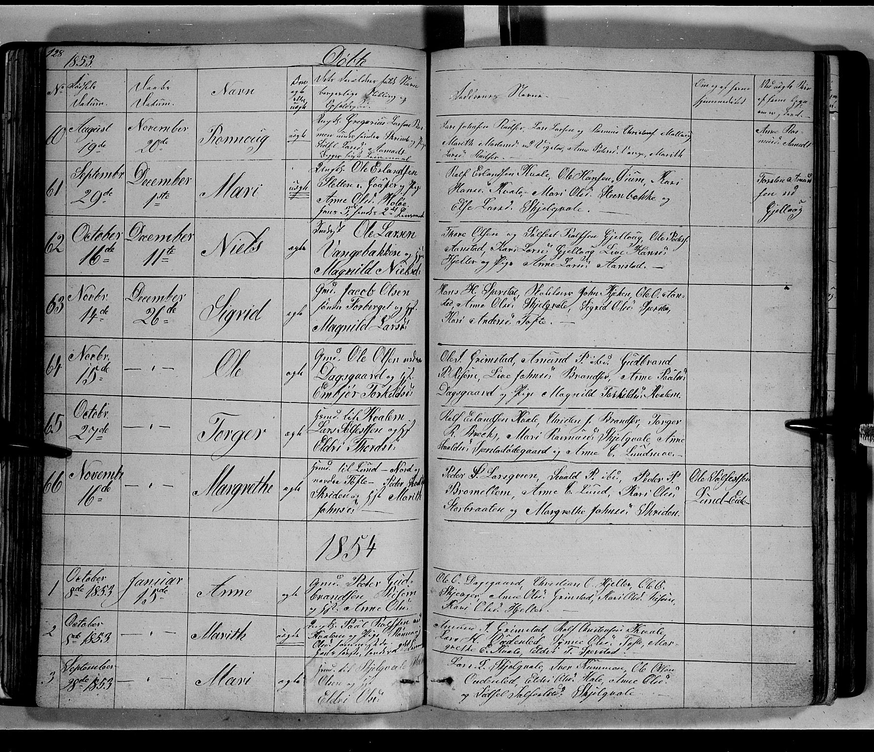 SAH, Lom prestekontor, L/L0004: Klokkerbok nr. 4, 1845-1864, s. 128-129