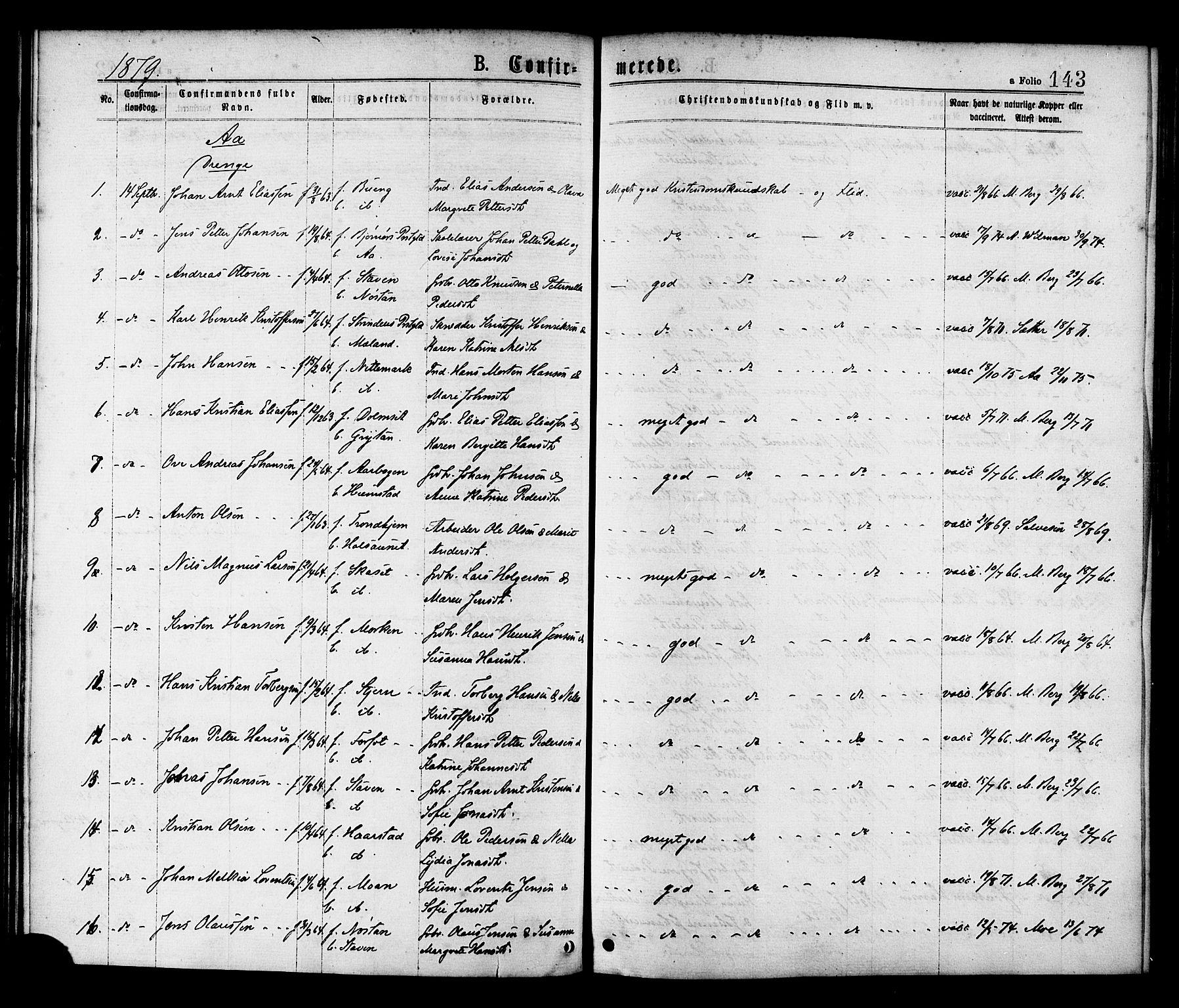 SAT, Ministerialprotokoller, klokkerbøker og fødselsregistre - Sør-Trøndelag, 655/L0679: Ministerialbok nr. 655A08, 1873-1879, s. 143