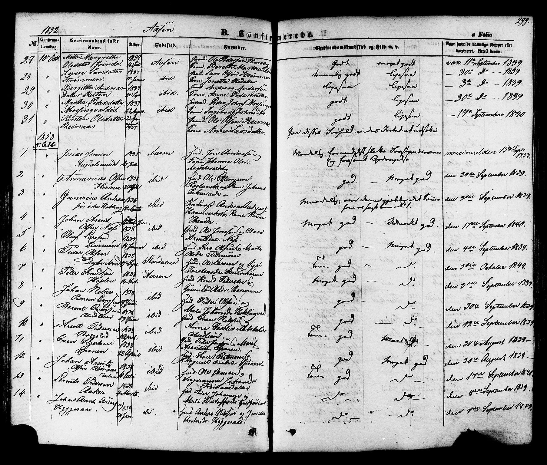 SAT, Ministerialprotokoller, klokkerbøker og fødselsregistre - Nord-Trøndelag, 713/L0116: Ministerialbok nr. 713A07 /2, 1850-1877, s. 299