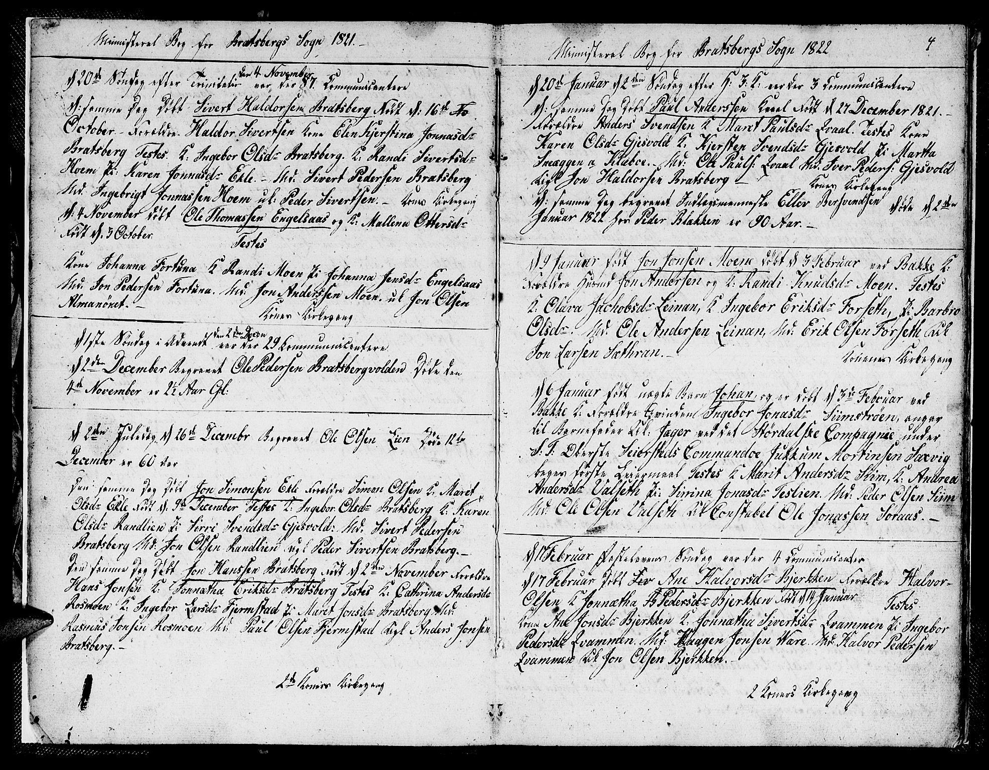SAT, Ministerialprotokoller, klokkerbøker og fødselsregistre - Sør-Trøndelag, 608/L0337: Klokkerbok nr. 608C03, 1821-1831, s. 4