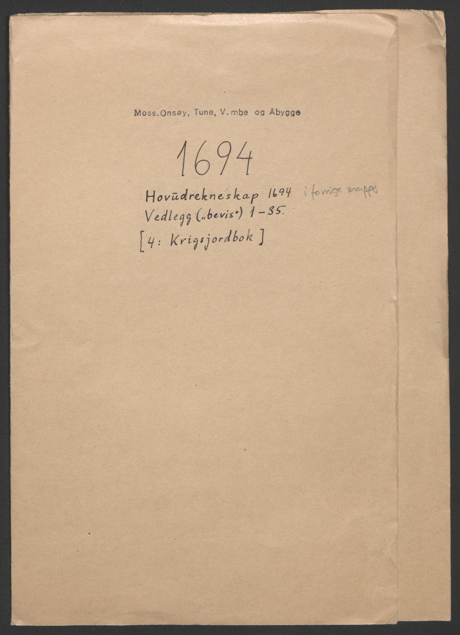 RA, Rentekammeret inntil 1814, Reviderte regnskaper, Fogderegnskap, R03/L0121: Fogderegnskap Onsøy, Tune, Veme og Åbygge fogderi, 1694, s. 266