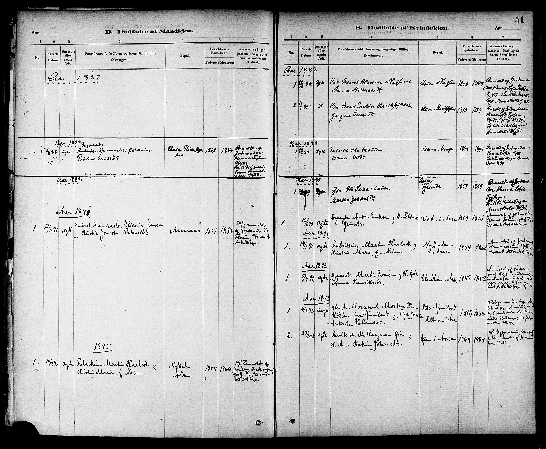SAT, Ministerialprotokoller, klokkerbøker og fødselsregistre - Nord-Trøndelag, 714/L0130: Ministerialbok nr. 714A01, 1878-1895, s. 51