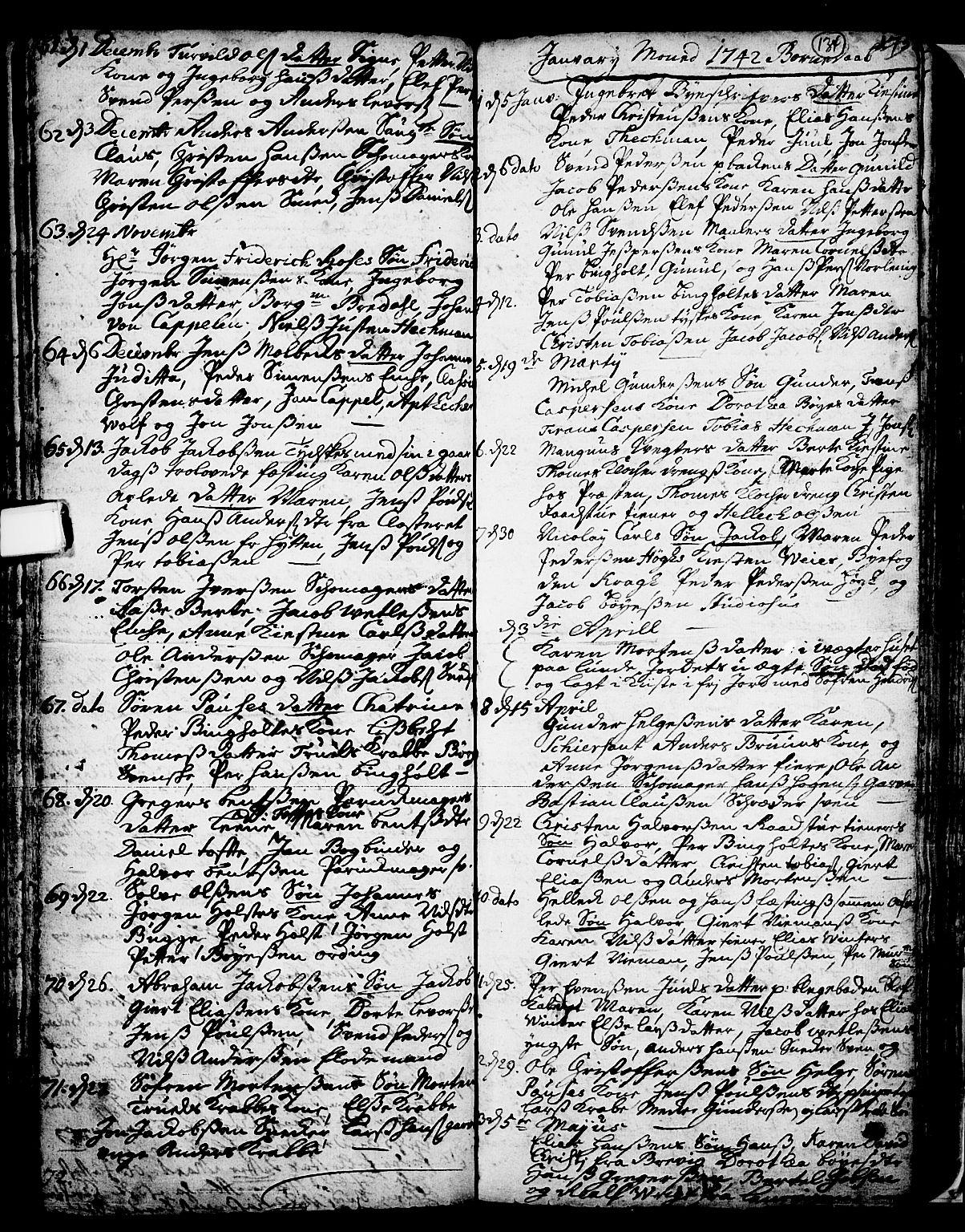 SAKO, Skien kirkebøker, F/Fa/L0002: Ministerialbok nr. 2, 1716-1757, s. 134