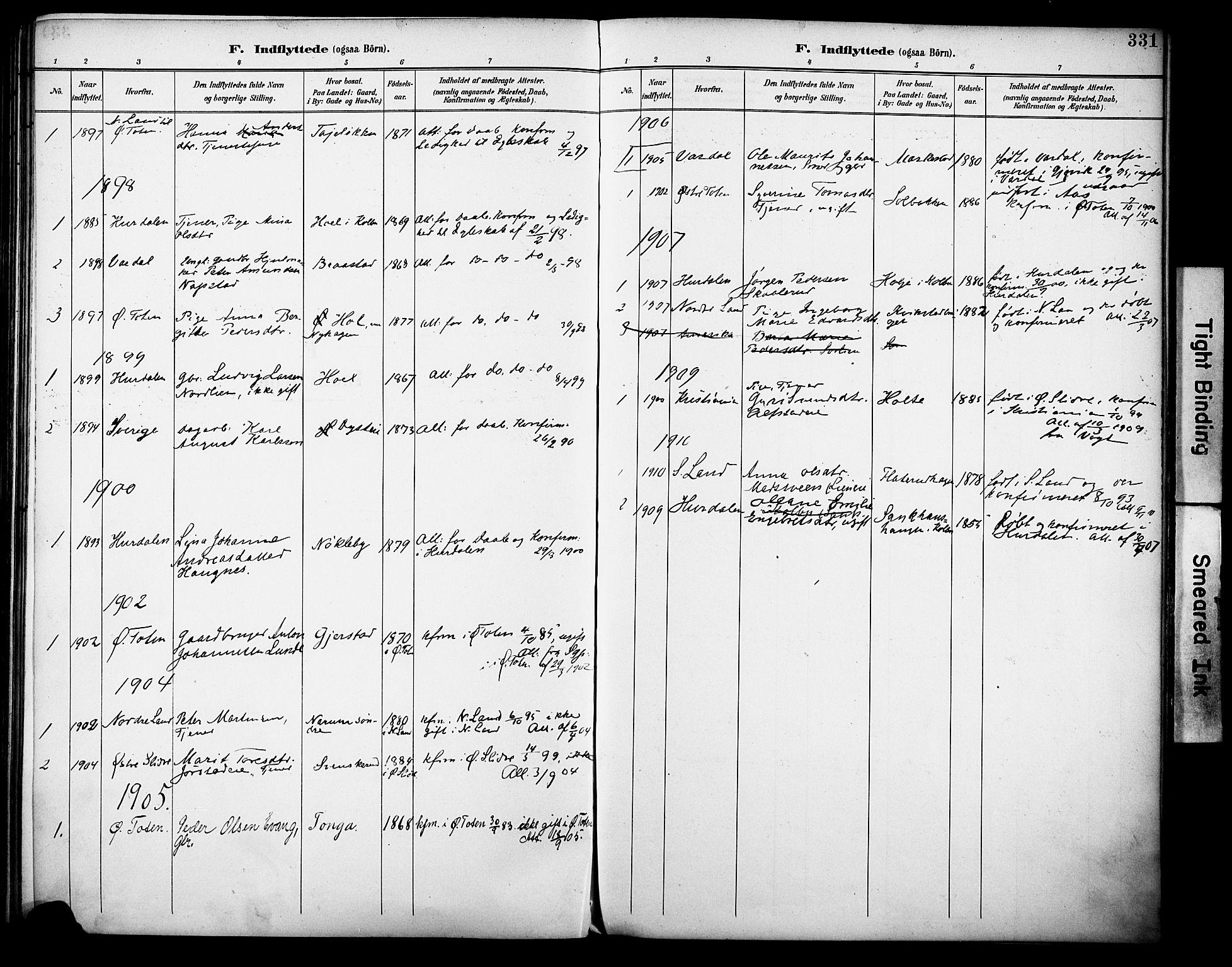 SAH, Vestre Toten prestekontor, Ministerialbok nr. 13, 1895-1911, s. 331