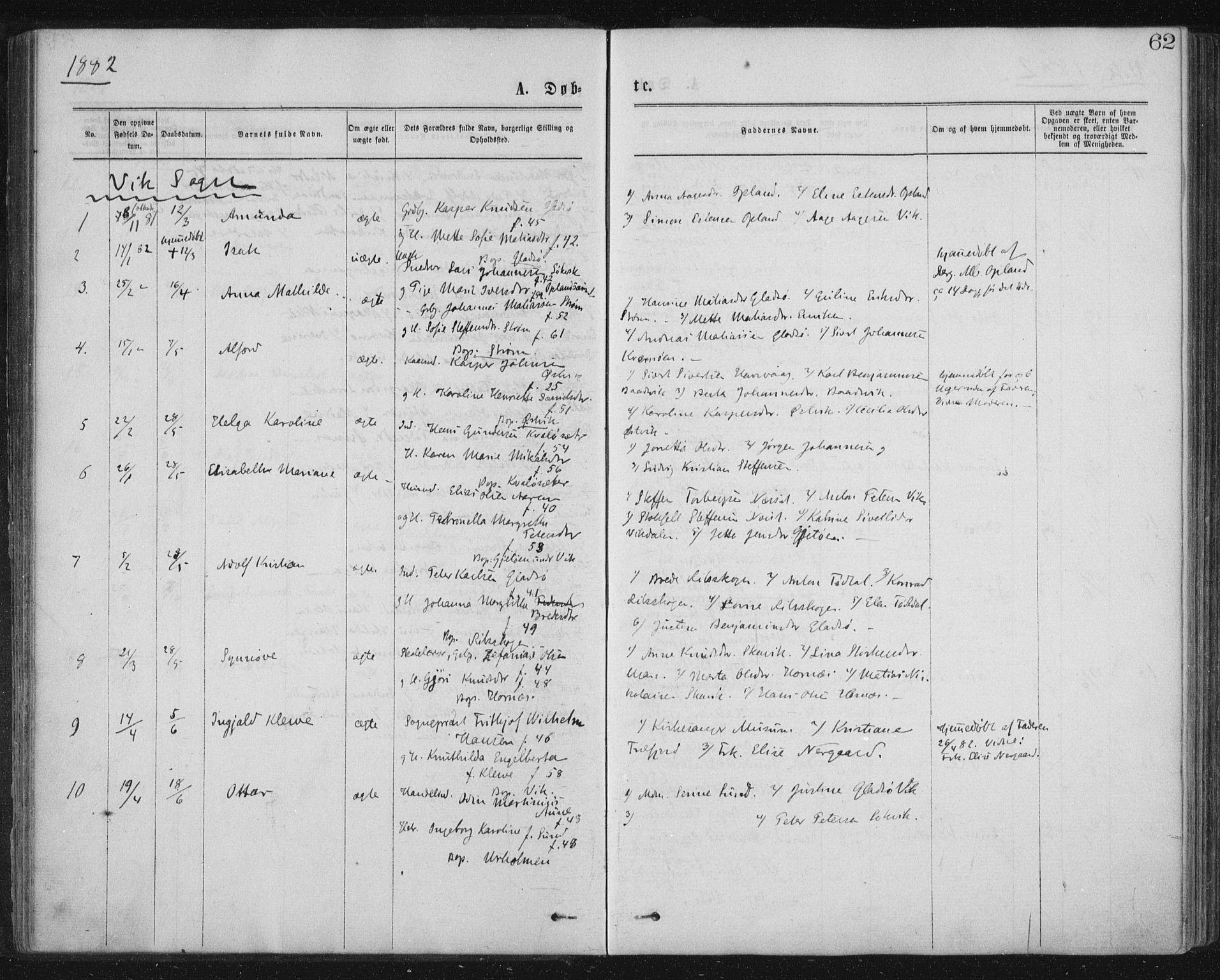 SAT, Ministerialprotokoller, klokkerbøker og fødselsregistre - Nord-Trøndelag, 771/L0596: Ministerialbok nr. 771A03, 1870-1884, s. 62