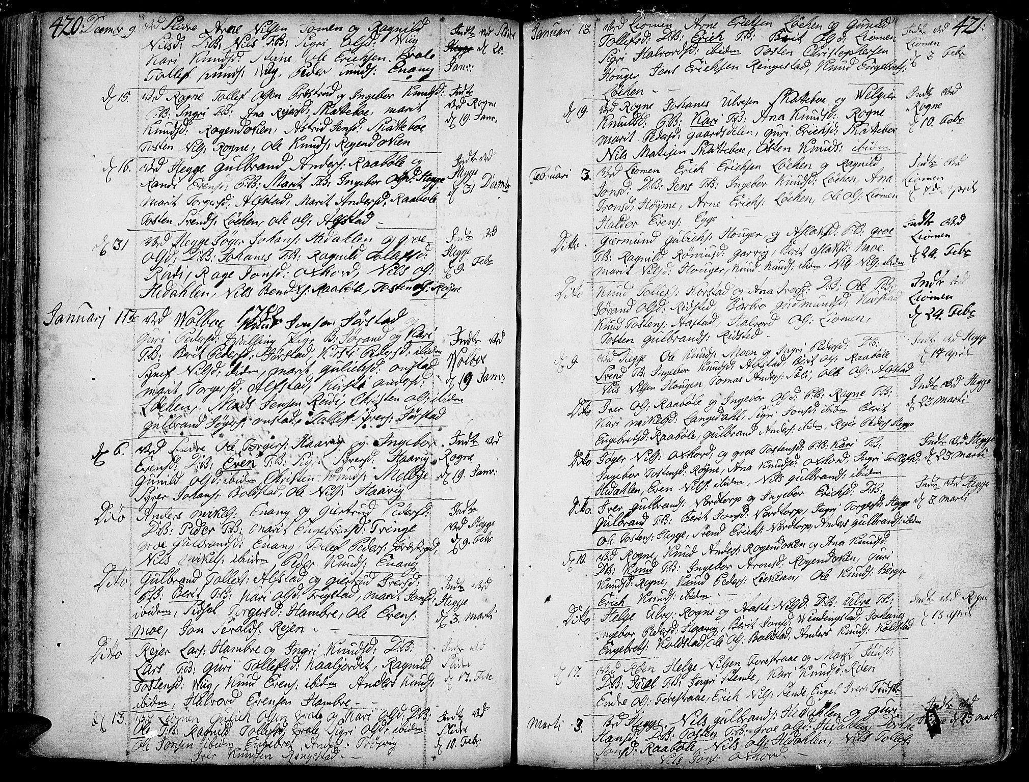 SAH, Slidre prestekontor, Ministerialbok nr. 1, 1724-1814, s. 420-421