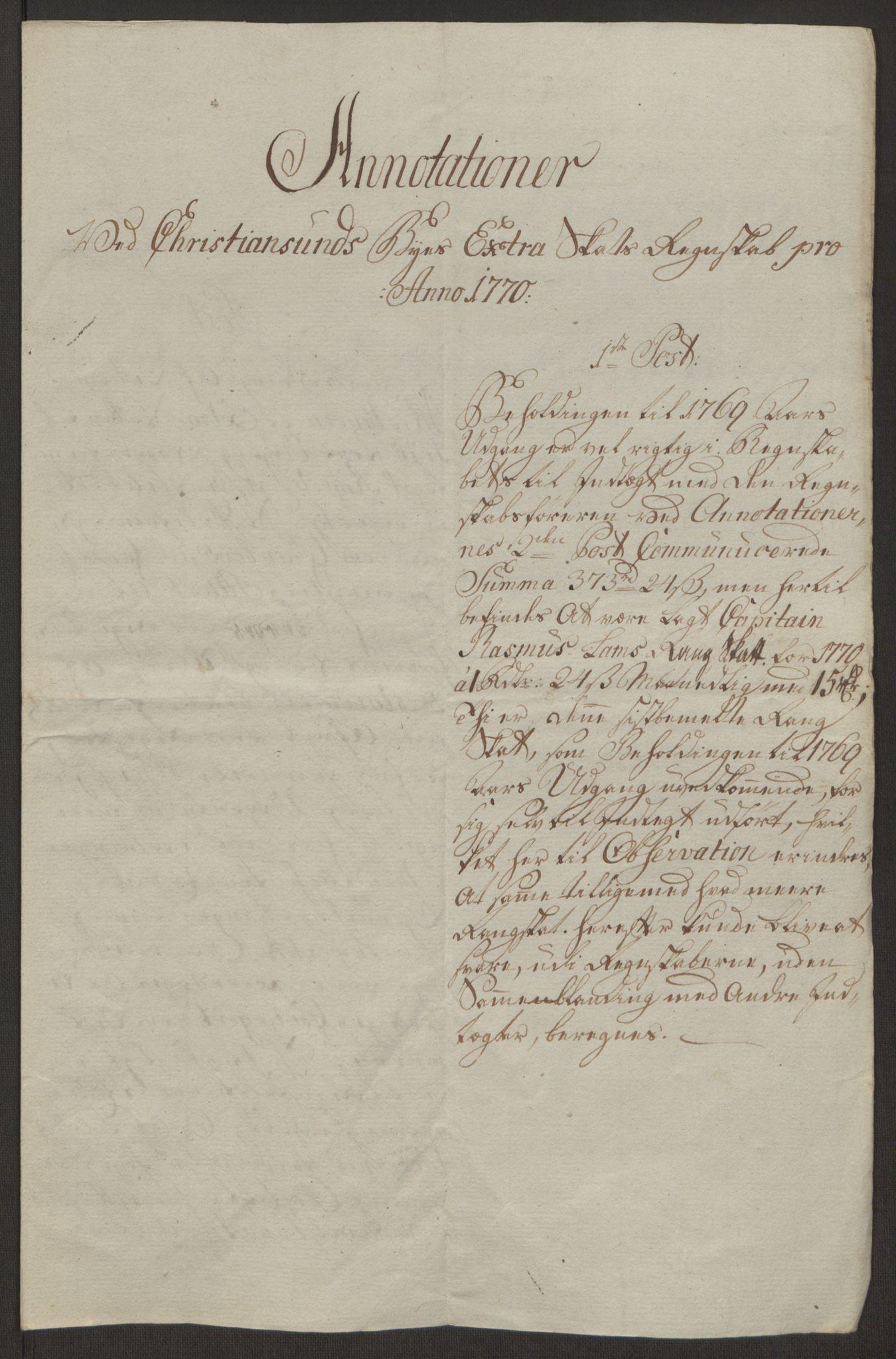 RA, Rentekammeret inntil 1814, Reviderte regnskaper, Byregnskaper, R/Rr/L0495: [R1] Kontribusjonsregnskap, 1762-1772, s. 253