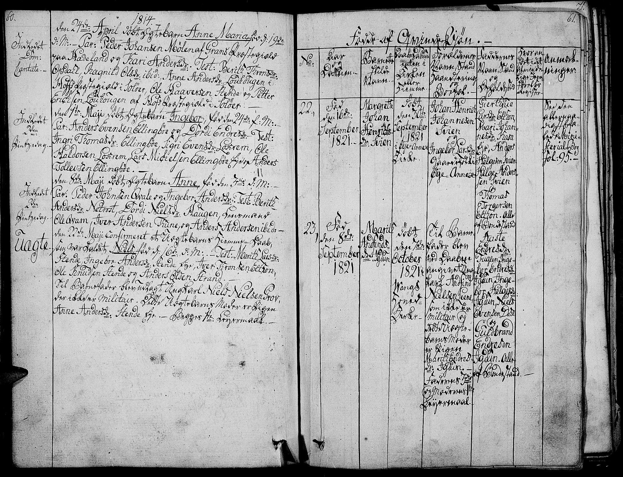 SAH, Vang prestekontor, Valdres, Ministerialbok nr. 3, 1809-1831, s. 60-61