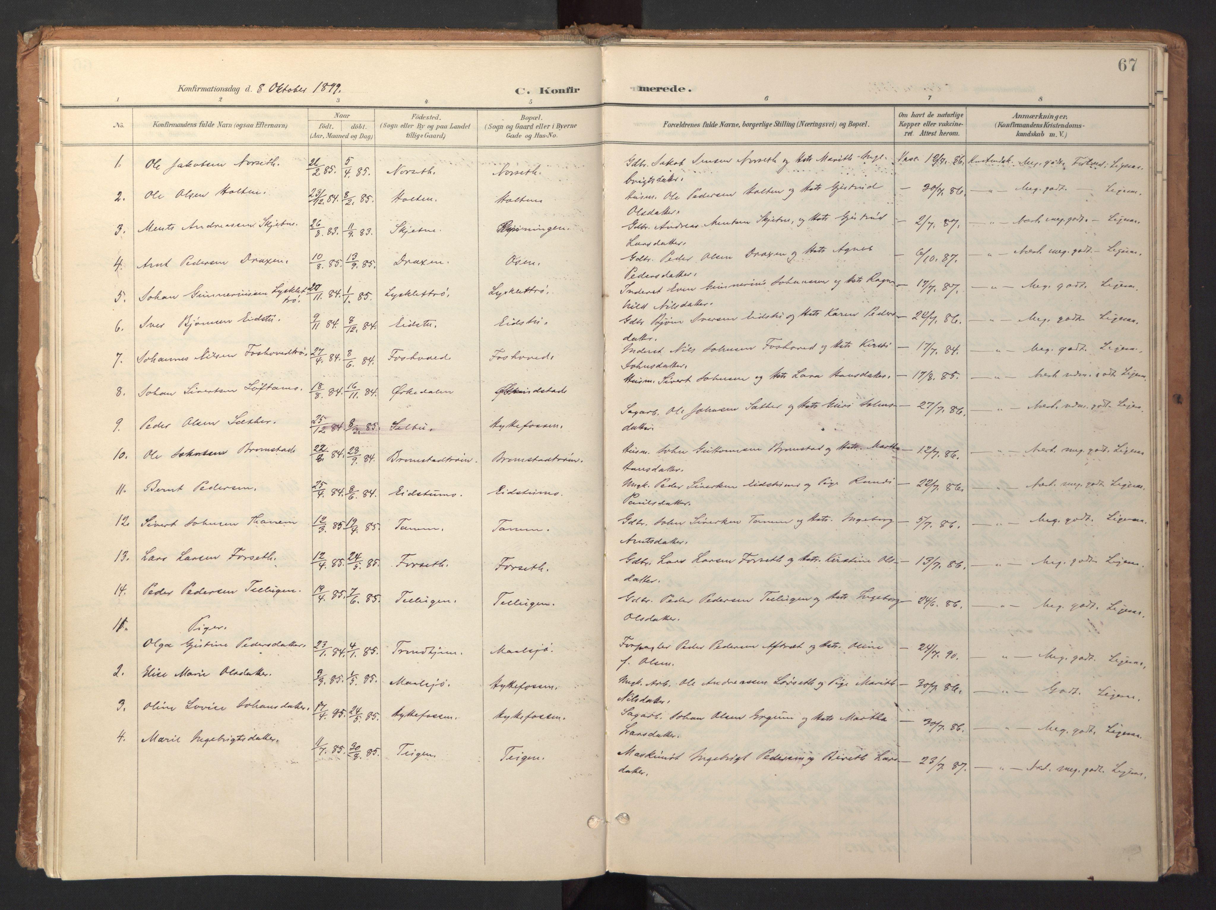 SAT, Ministerialprotokoller, klokkerbøker og fødselsregistre - Sør-Trøndelag, 618/L0448: Ministerialbok nr. 618A11, 1898-1916, s. 67