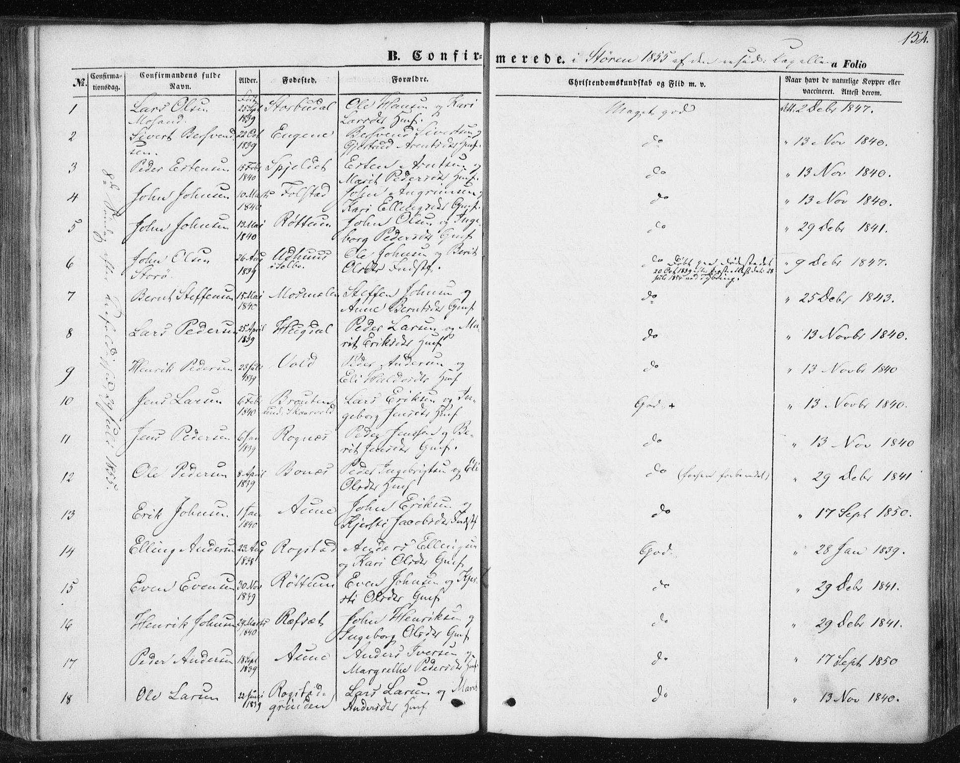 SAT, Ministerialprotokoller, klokkerbøker og fødselsregistre - Sør-Trøndelag, 687/L1000: Ministerialbok nr. 687A06, 1848-1869, s. 154