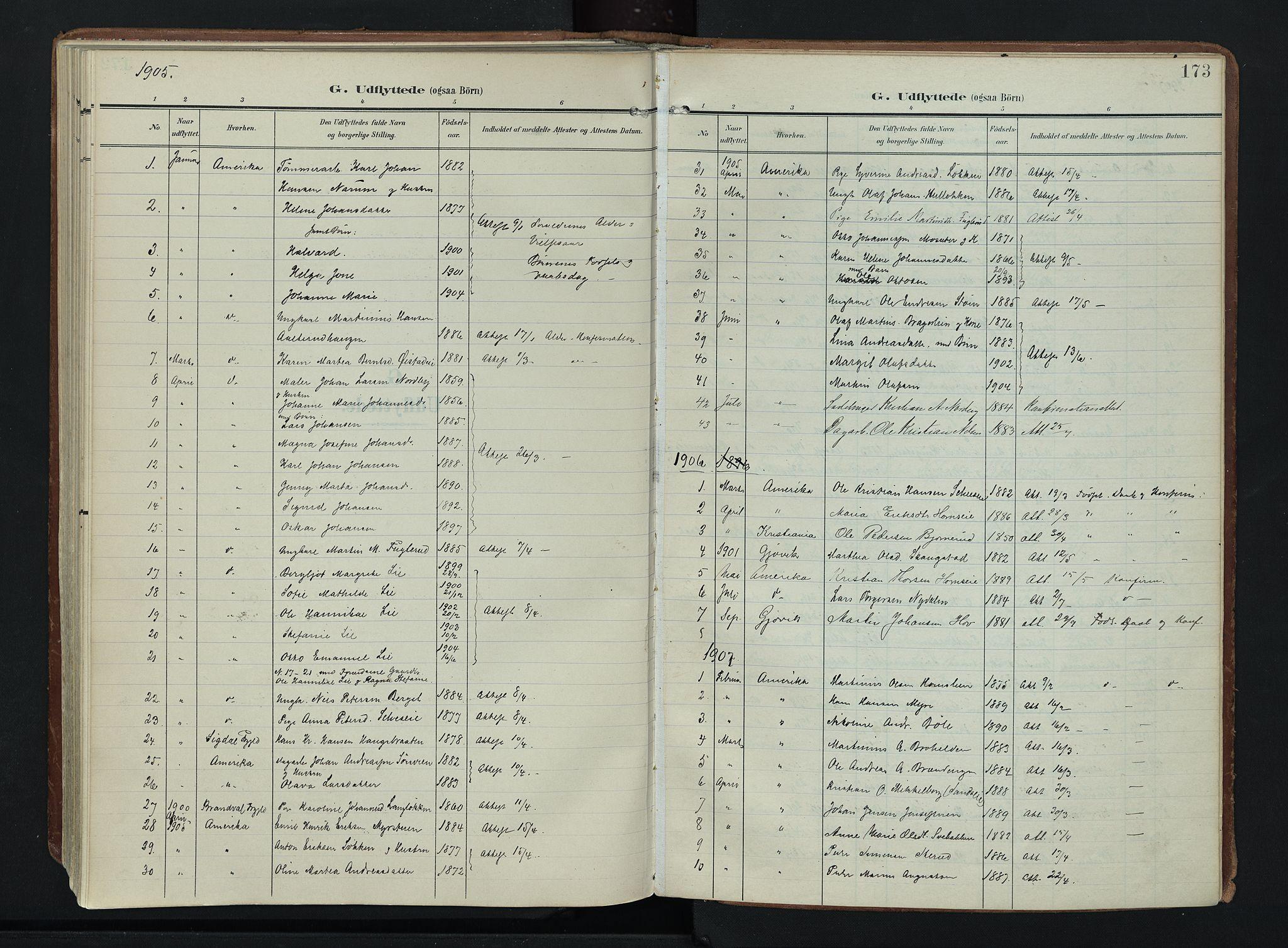 SAH, Søndre Land prestekontor, K/L0007: Ministerialbok nr. 7, 1905-1914, s. 173