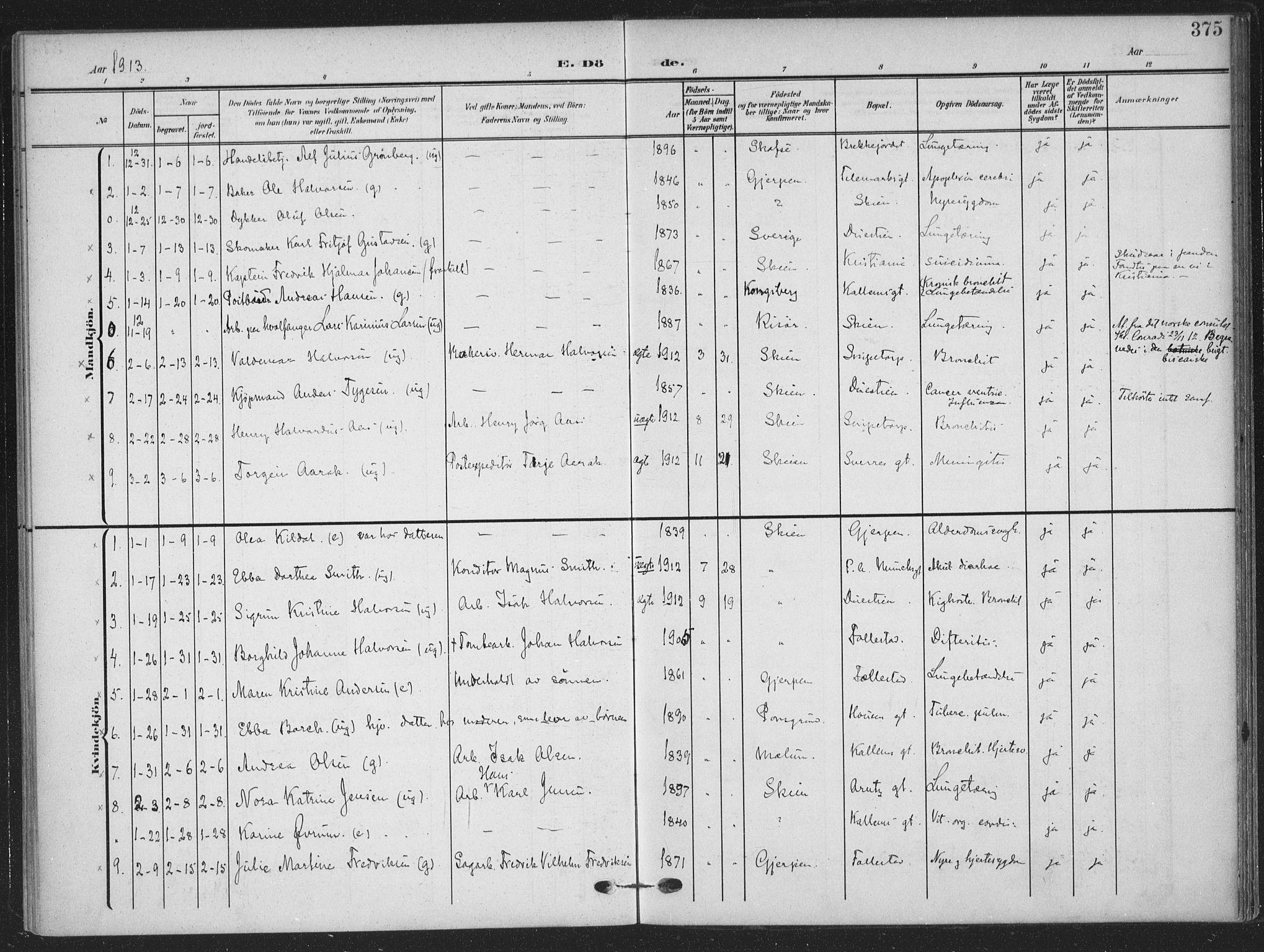 SAKO, Skien kirkebøker, F/Fa/L0012: Ministerialbok nr. 12, 1908-1914, s. 375