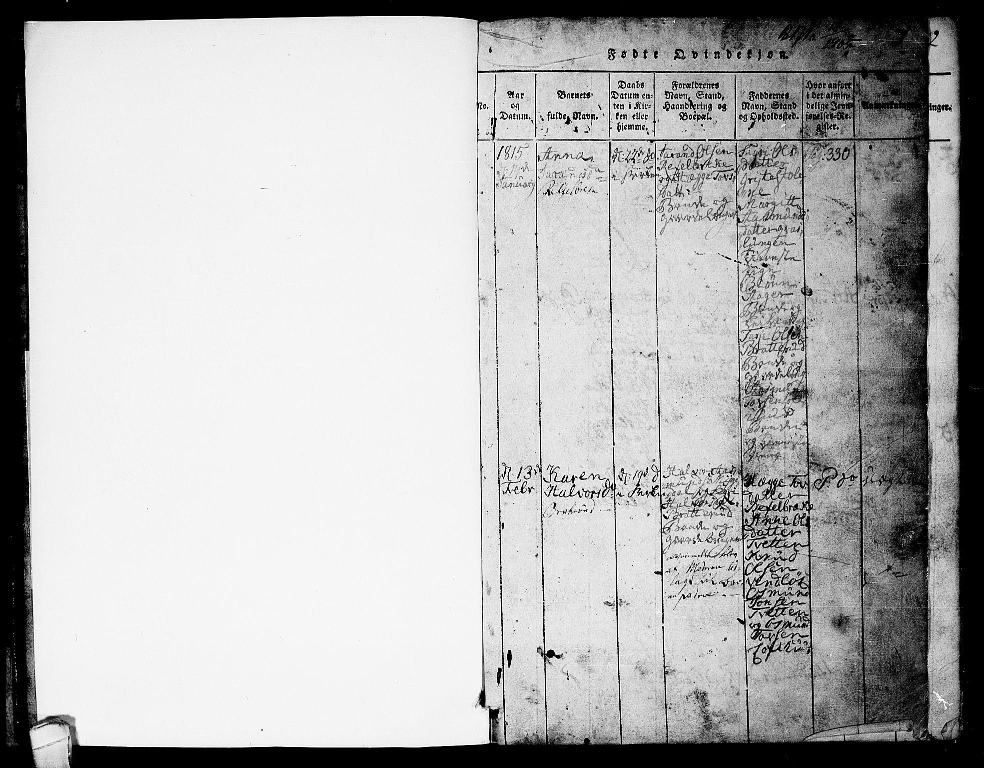 SAKO, Lårdal kirkebøker, G/Gb/L0001: Klokkerbok nr. II 1, 1815-1865, s. 1