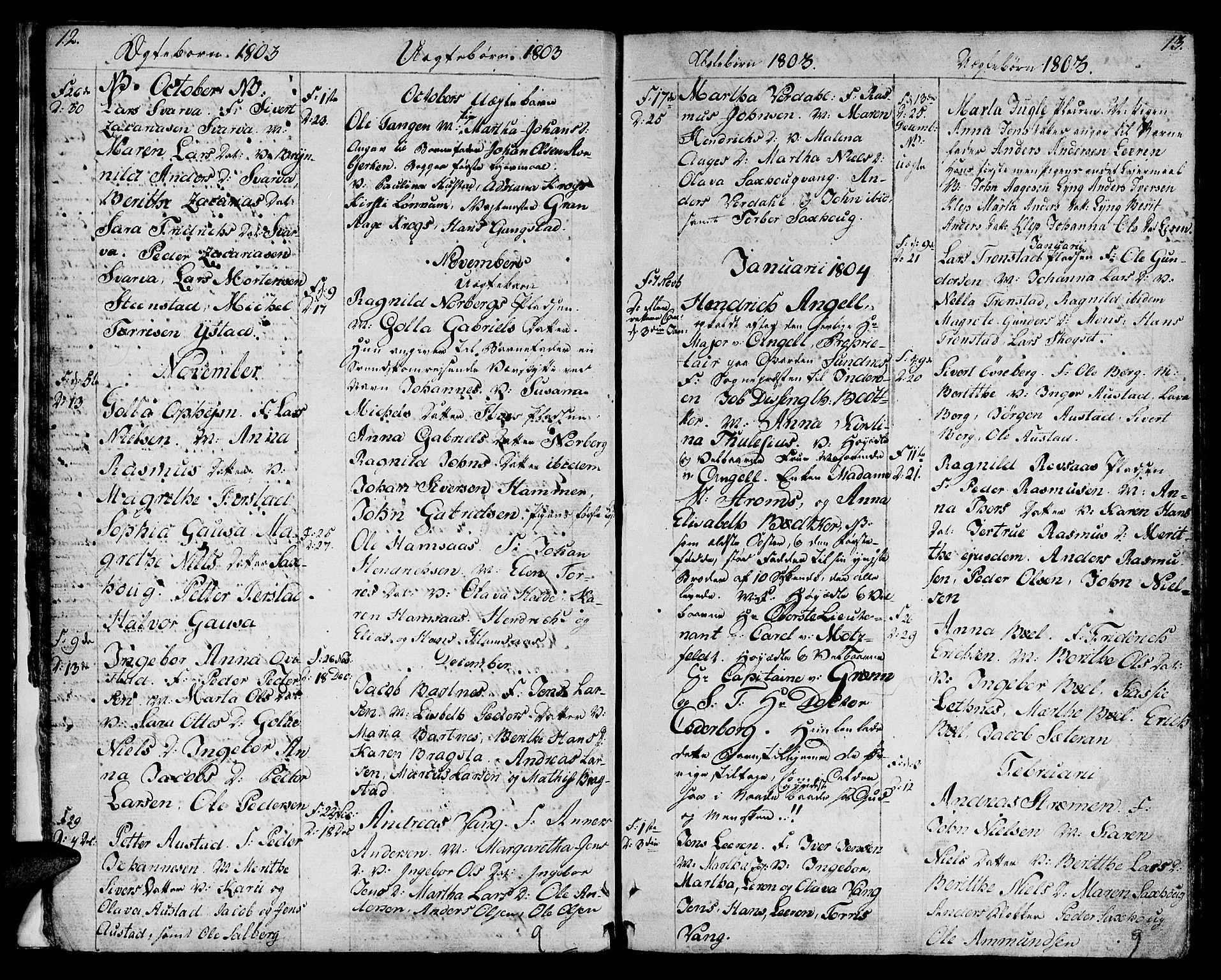 SAT, Ministerialprotokoller, klokkerbøker og fødselsregistre - Nord-Trøndelag, 730/L0274: Ministerialbok nr. 730A03, 1802-1816, s. 12-13
