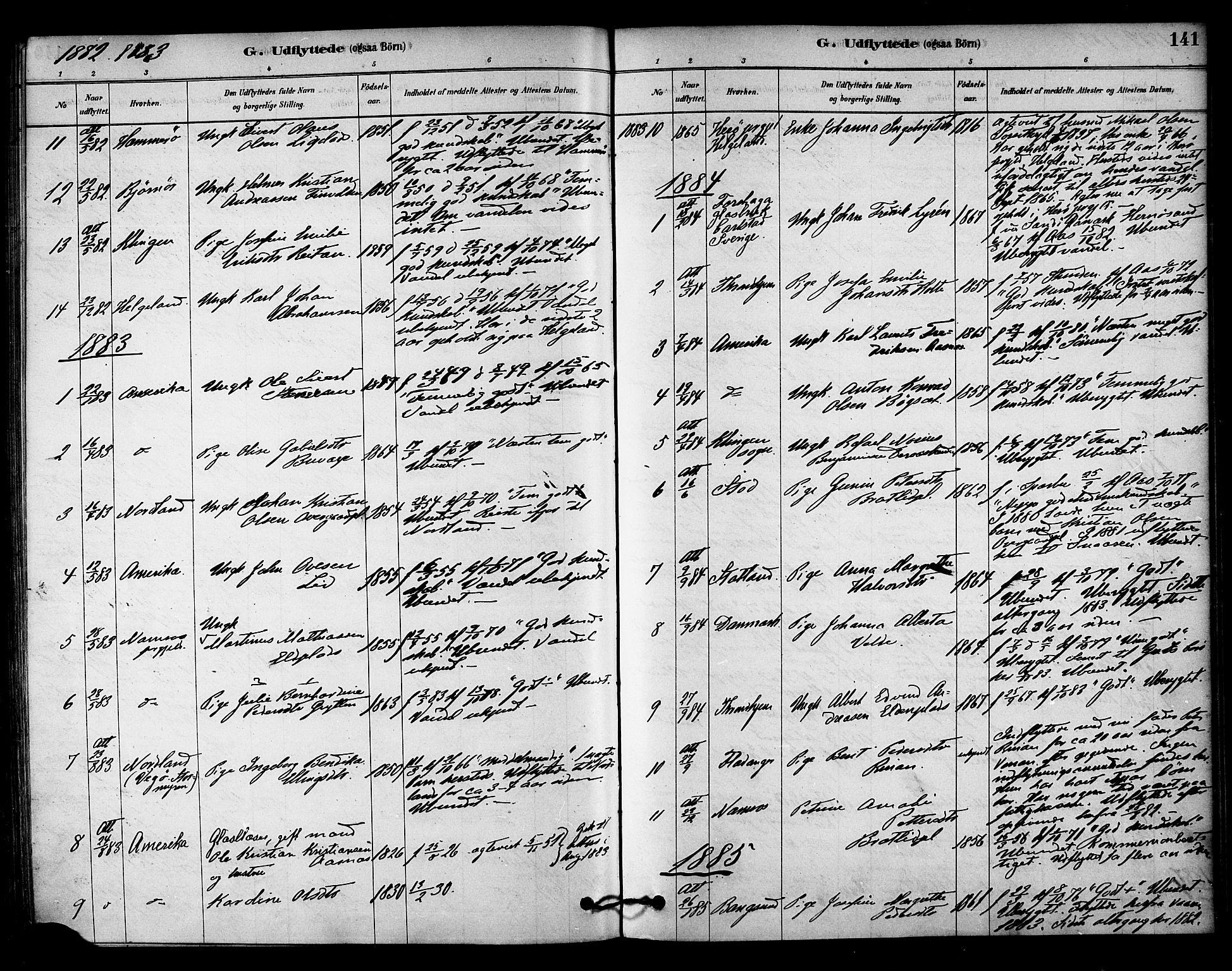 SAT, Ministerialprotokoller, klokkerbøker og fødselsregistre - Nord-Trøndelag, 742/L0408: Ministerialbok nr. 742A01, 1878-1890, s. 141