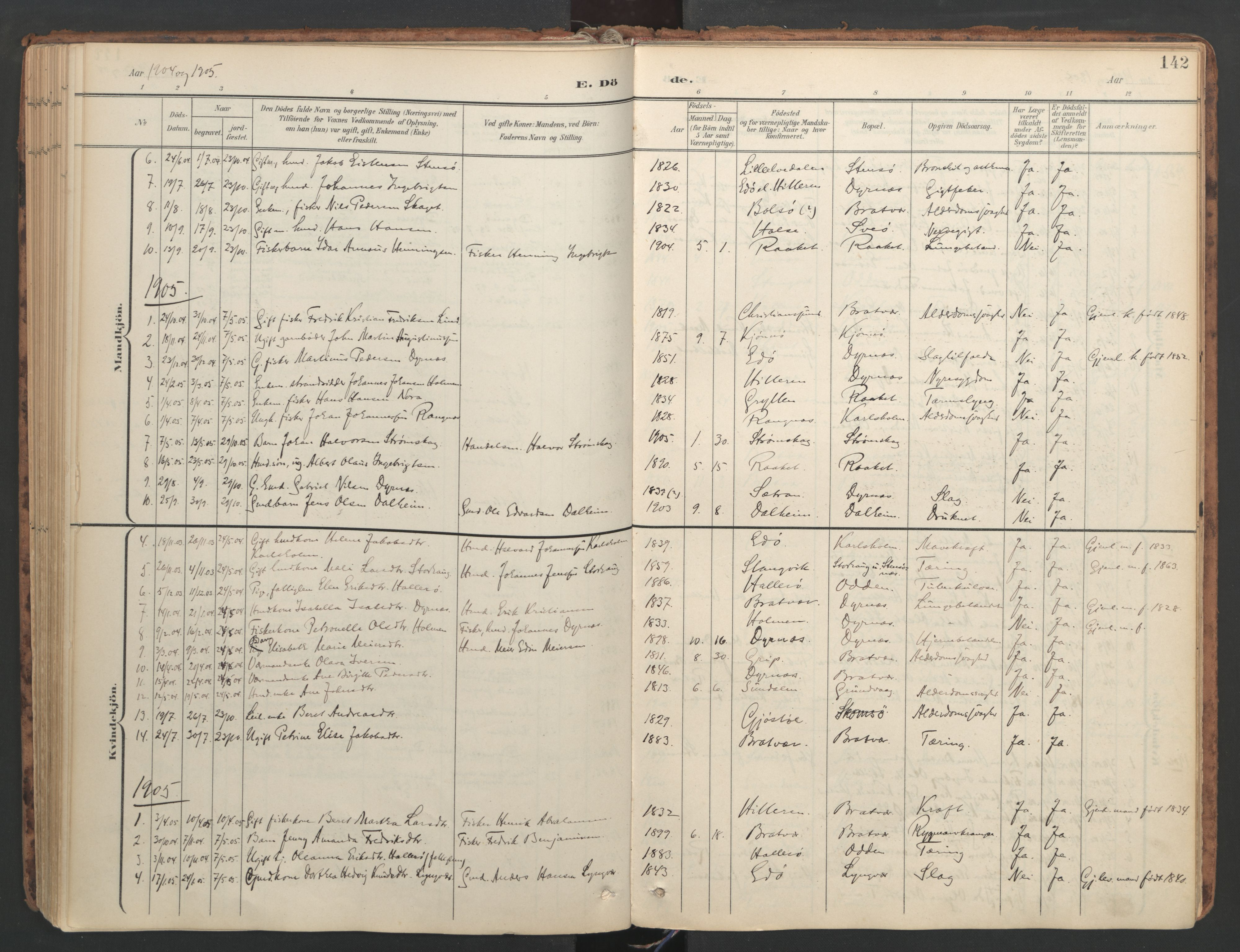 SAT, Ministerialprotokoller, klokkerbøker og fødselsregistre - Møre og Romsdal, 582/L0948: Ministerialbok nr. 582A02, 1901-1922, s. 142