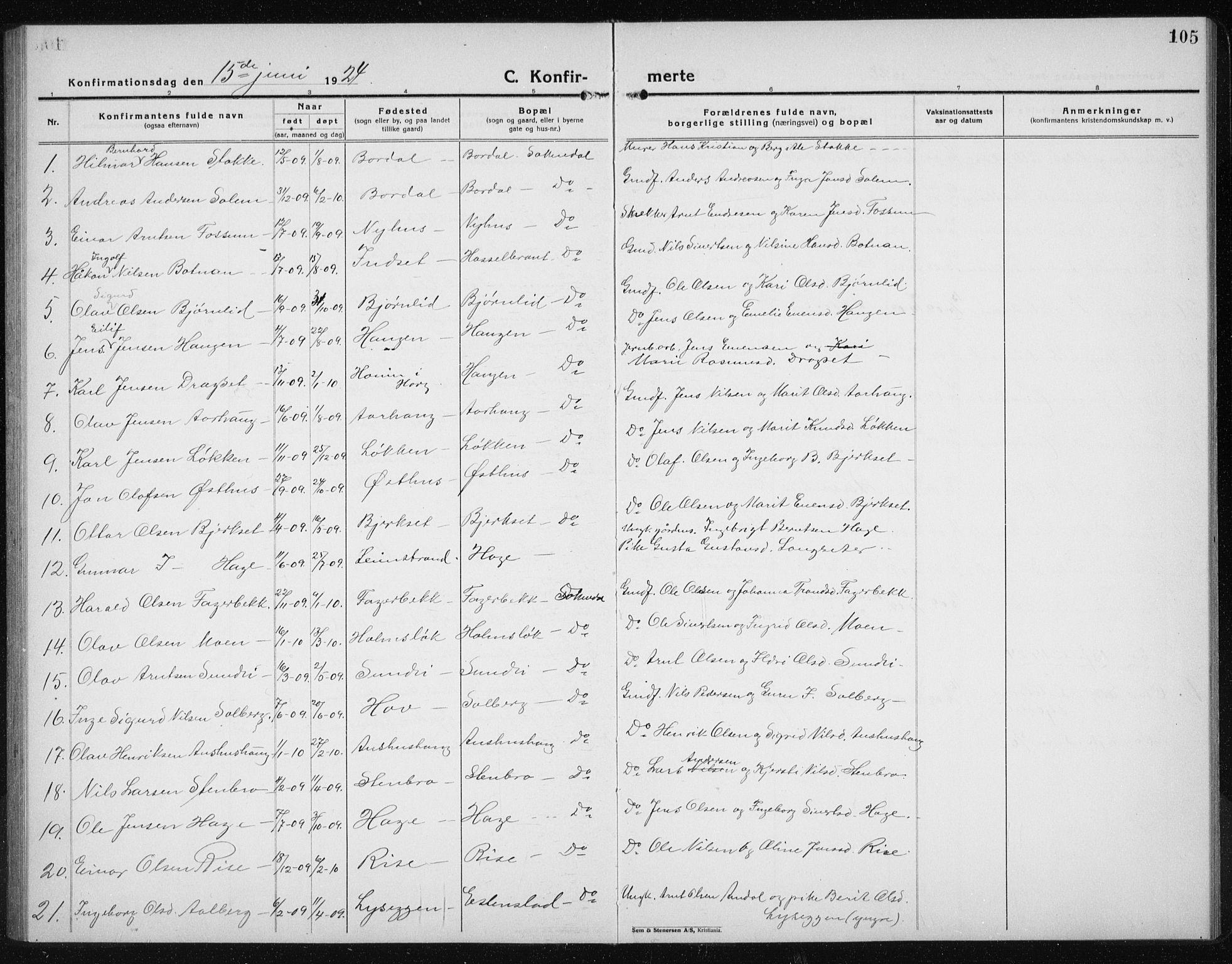 SAT, Ministerialprotokoller, klokkerbøker og fødselsregistre - Sør-Trøndelag, 689/L1045: Klokkerbok nr. 689C04, 1923-1940, s. 105