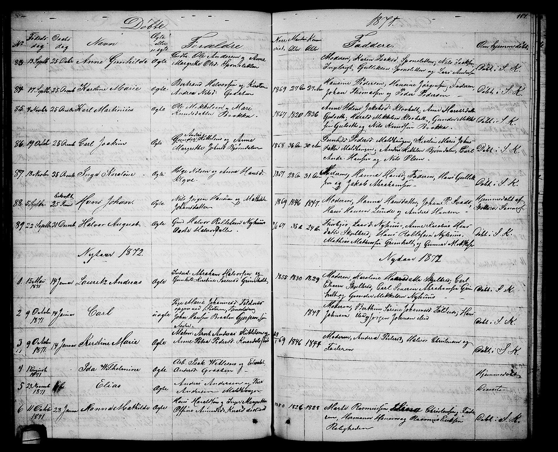 SAKO, Solum kirkebøker, G/Ga/L0004: Klokkerbok nr. I 4, 1859-1876, s. 117