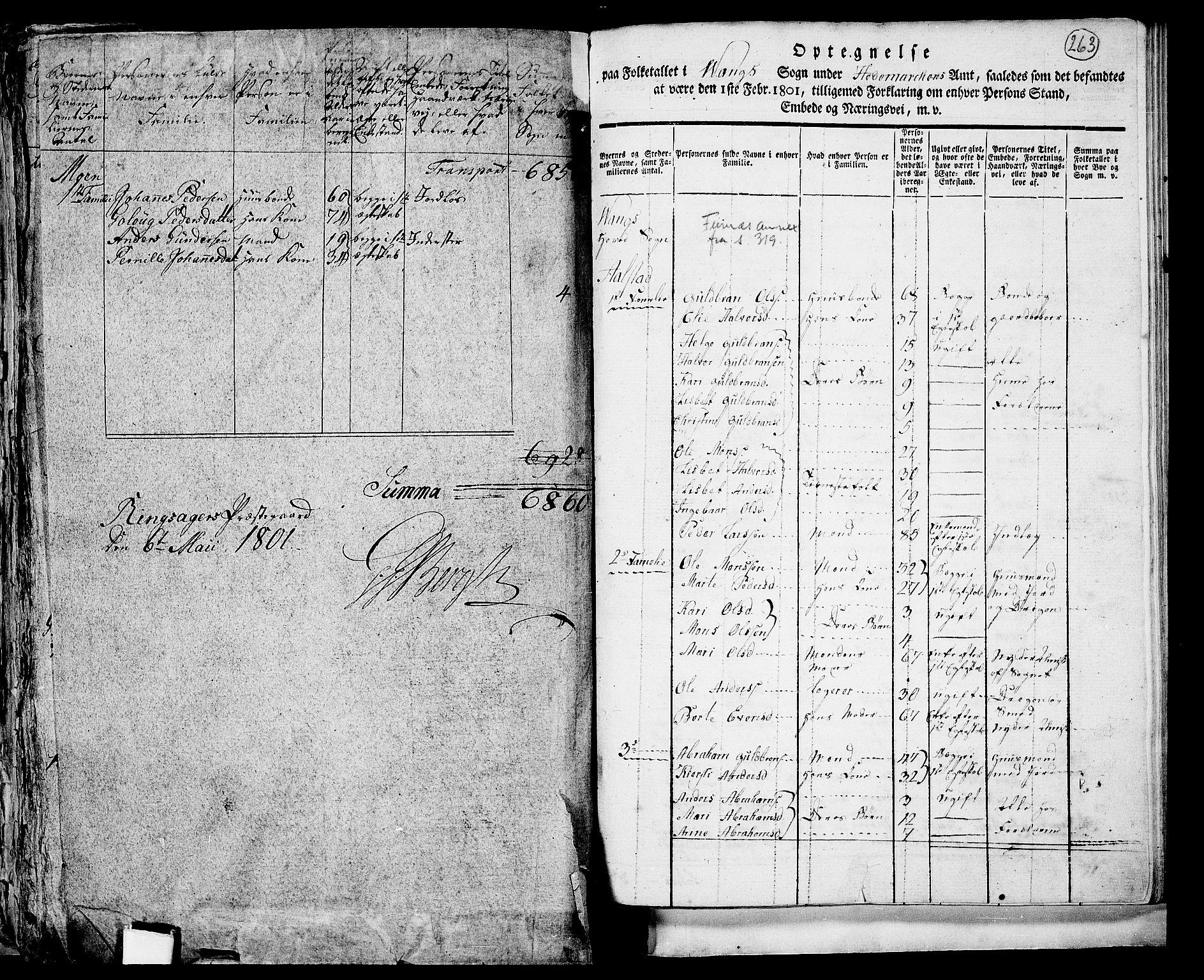 RA, Folketelling 1801 for 0414P Vang prestegjeld, 1801, s. 262b-263a