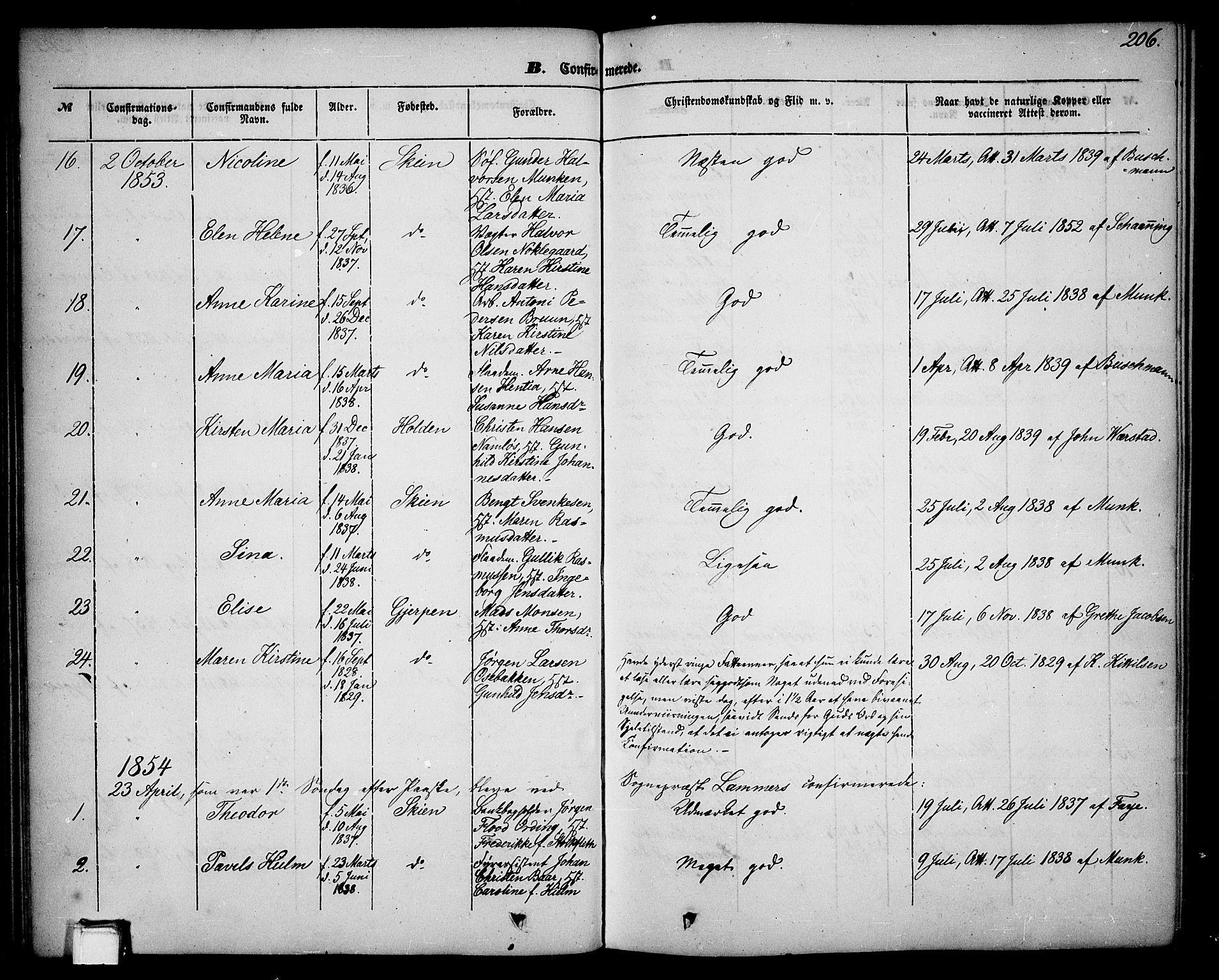 SAKO, Skien kirkebøker, G/Ga/L0004: Klokkerbok nr. 4, 1843-1867, s. 206