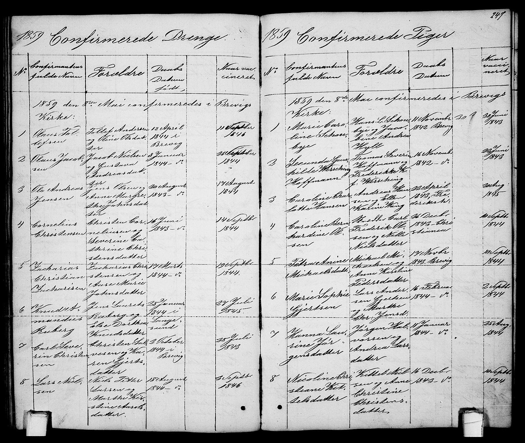 SAKO, Brevik kirkebøker, G/Ga/L0002: Klokkerbok nr. 2, 1846-1865, s. 247