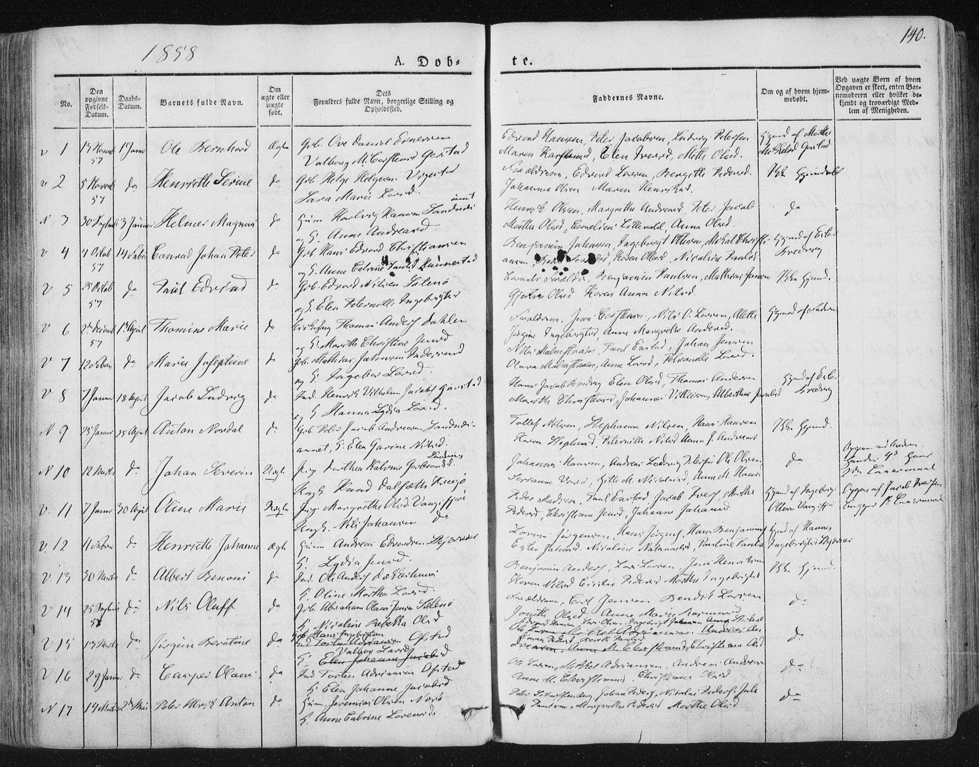 SAT, Ministerialprotokoller, klokkerbøker og fødselsregistre - Nord-Trøndelag, 784/L0669: Ministerialbok nr. 784A04, 1829-1859, s. 140