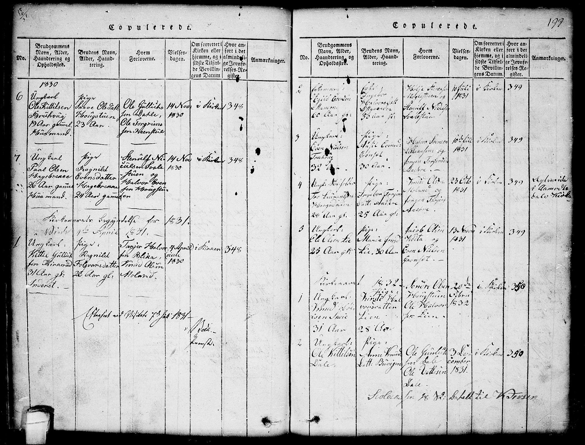 SAKO, Seljord kirkebøker, G/Gb/L0002: Klokkerbok nr. II 2, 1815-1854, s. 199