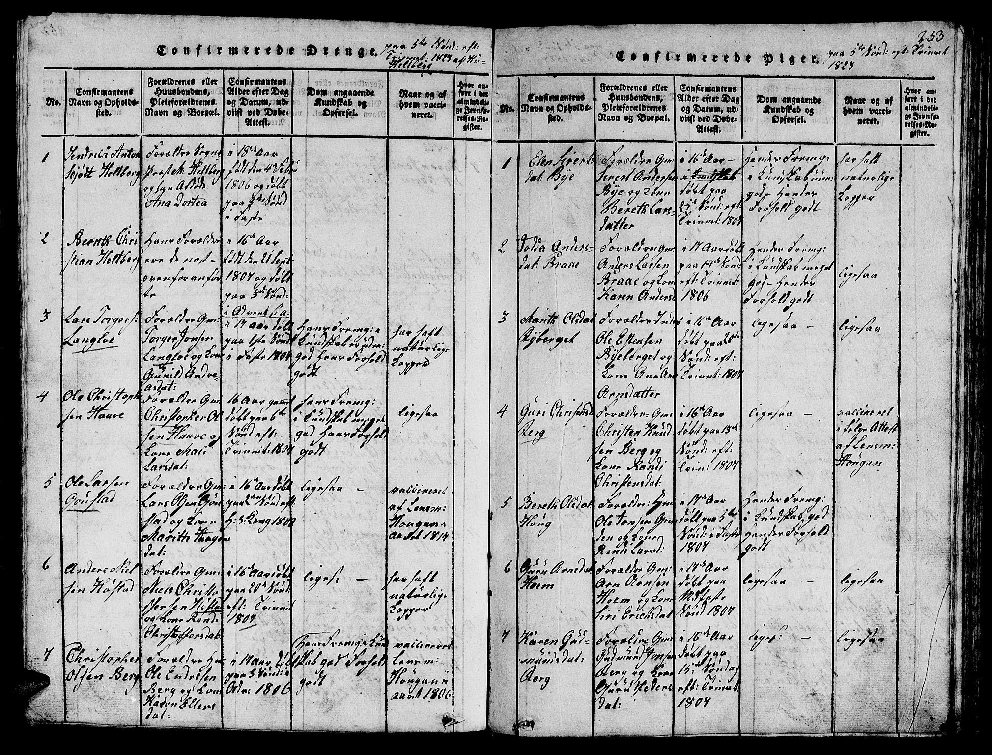SAT, Ministerialprotokoller, klokkerbøker og fødselsregistre - Sør-Trøndelag, 612/L0385: Klokkerbok nr. 612C01, 1816-1845, s. 253