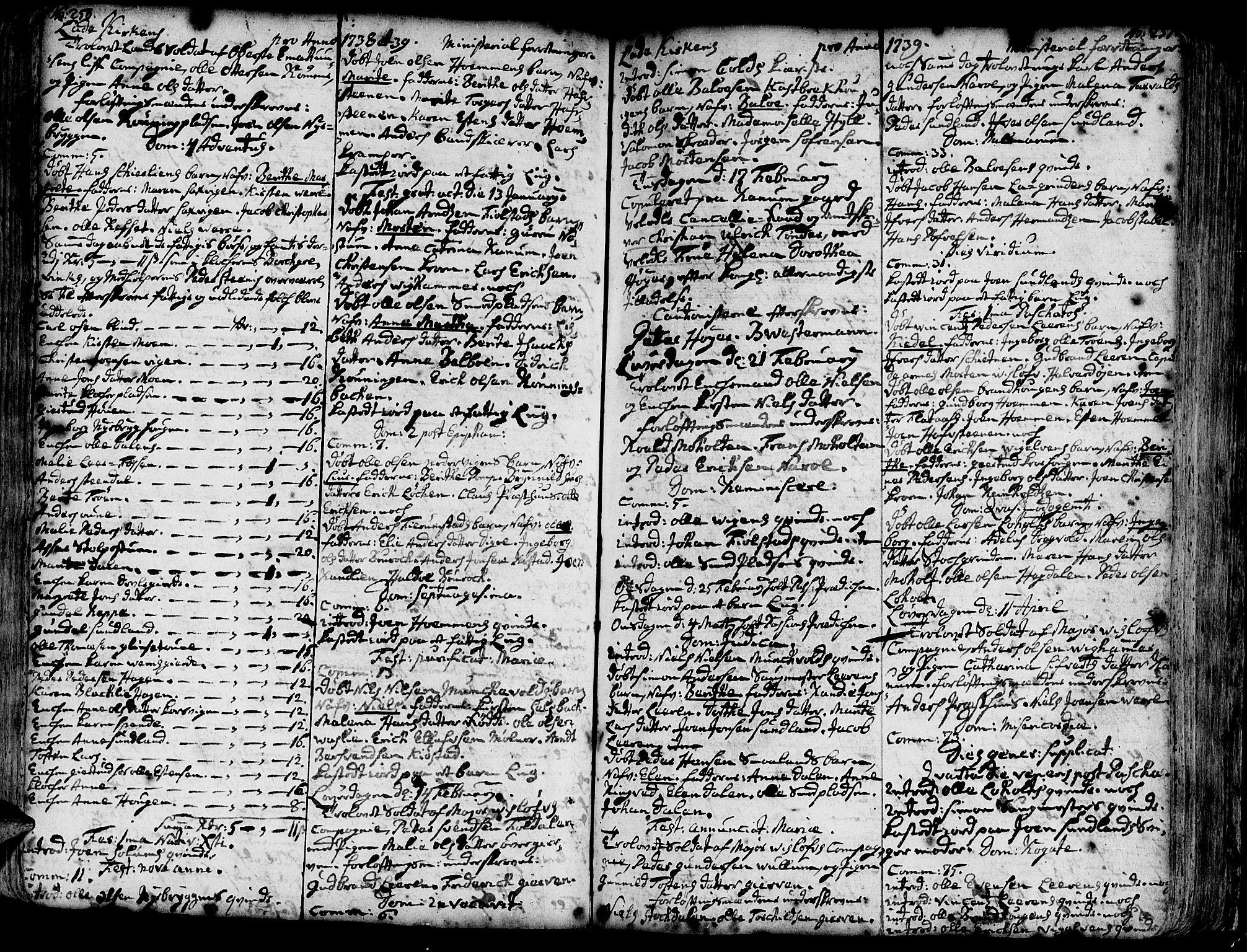 SAT, Ministerialprotokoller, klokkerbøker og fødselsregistre - Sør-Trøndelag, 606/L0275: Ministerialbok nr. 606A01 /1, 1727-1780, s. 250-251