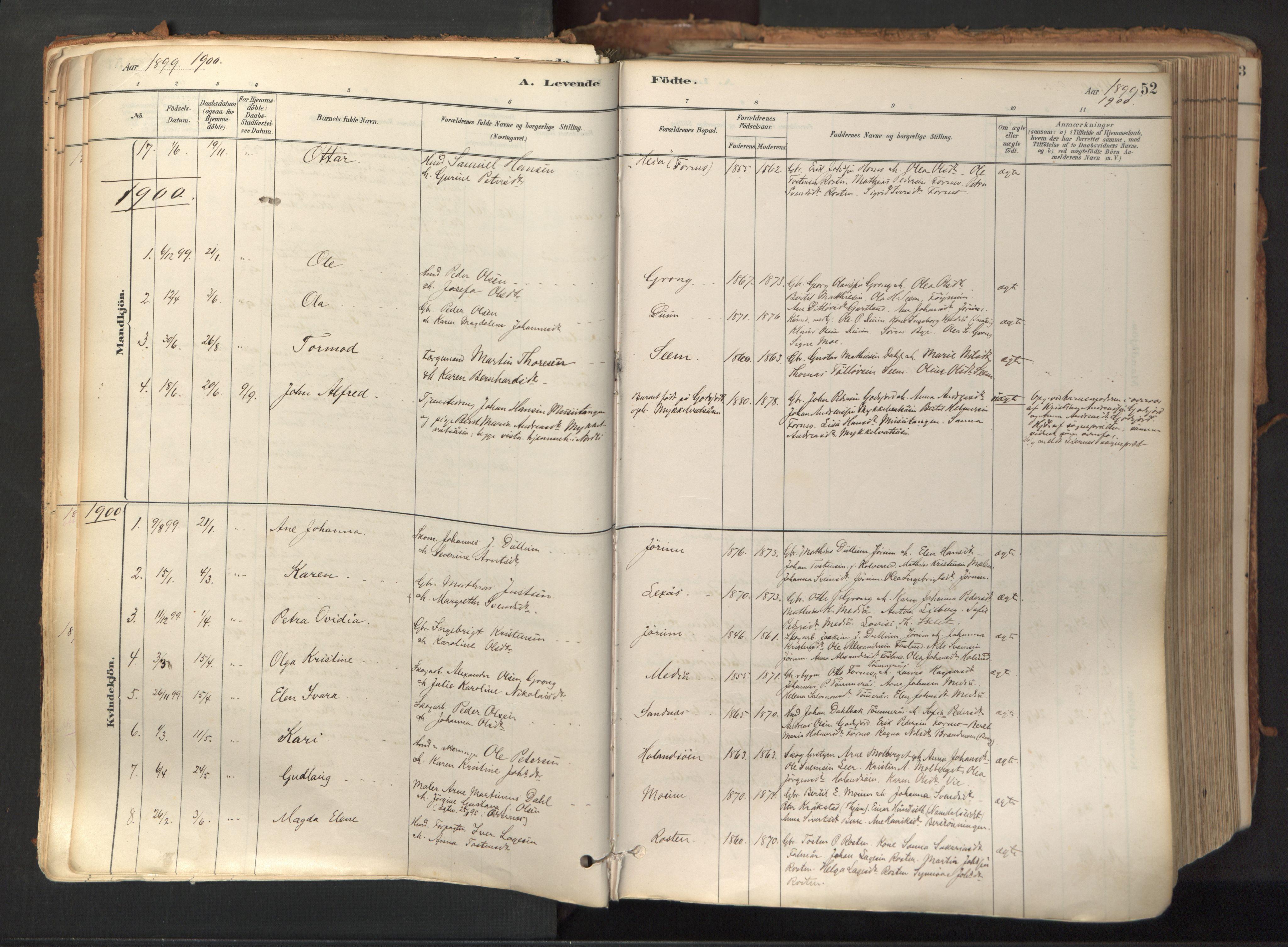 SAT, Ministerialprotokoller, klokkerbøker og fødselsregistre - Nord-Trøndelag, 758/L0519: Ministerialbok nr. 758A04, 1880-1926, s. 52