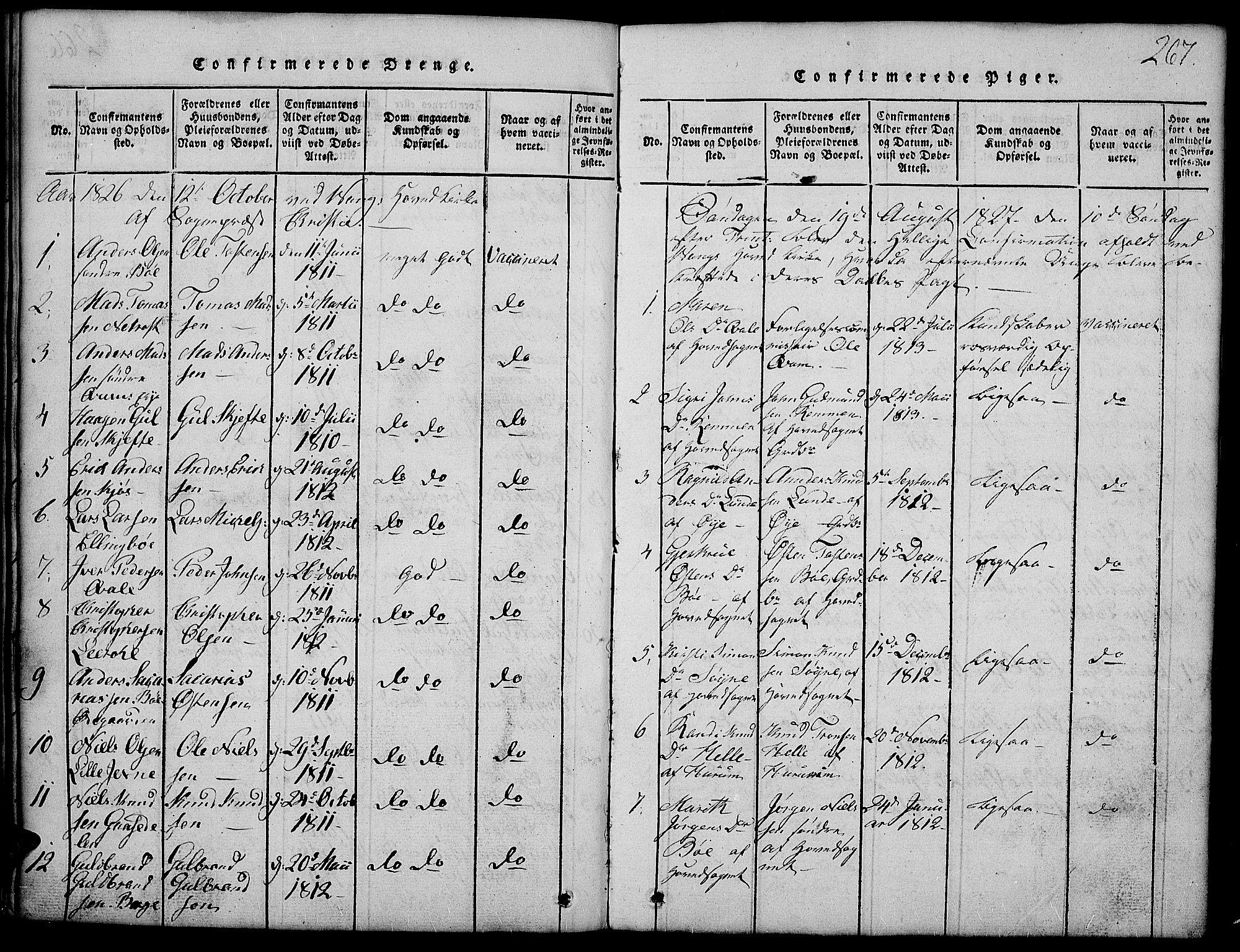 SAH, Vang prestekontor, Valdres, Klokkerbok nr. 2, 1814-1889, s. 267