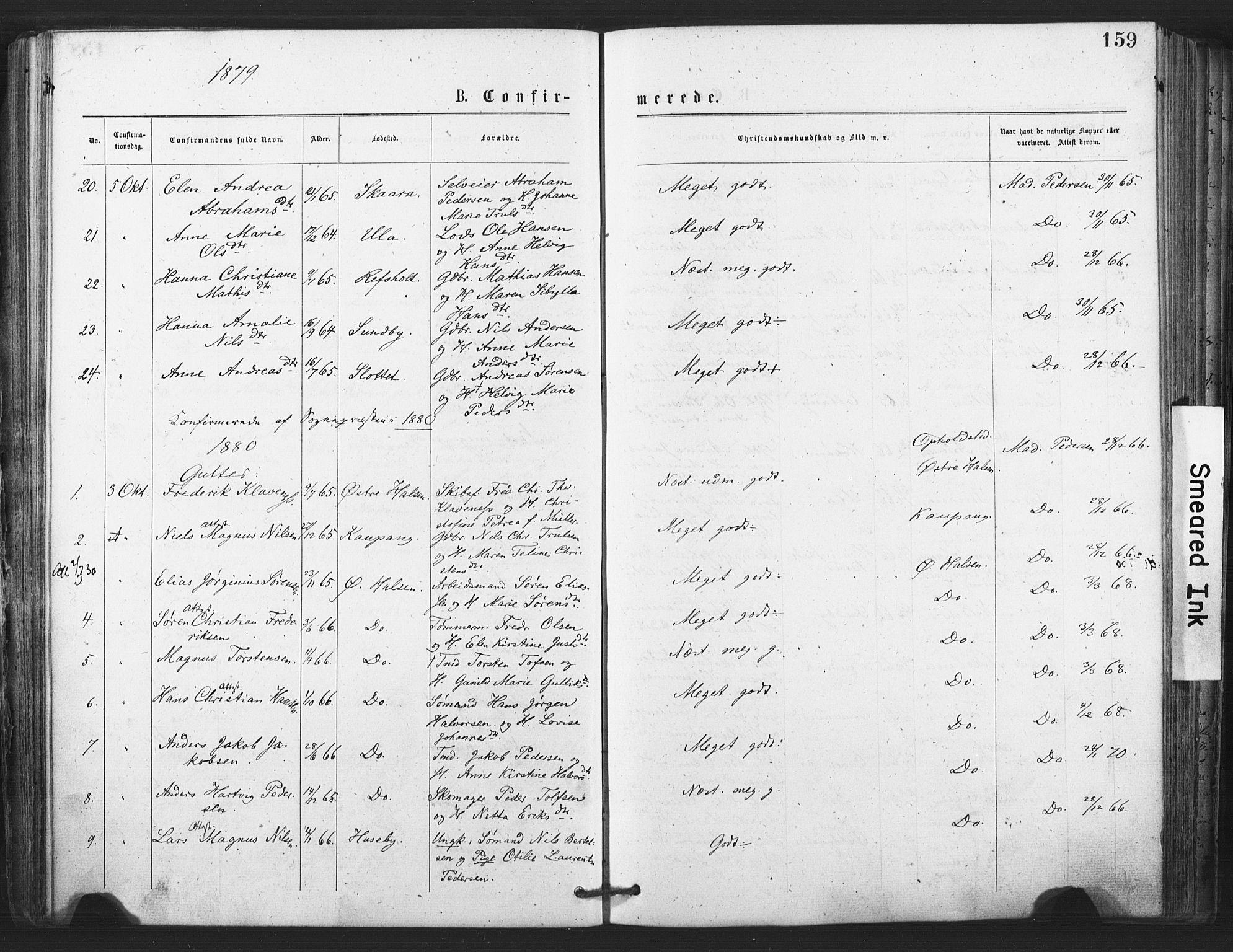 SAKO, Tjølling kirkebøker, F/Fa/L0008: Ministerialbok nr. 8, 1877-1886, s. 159