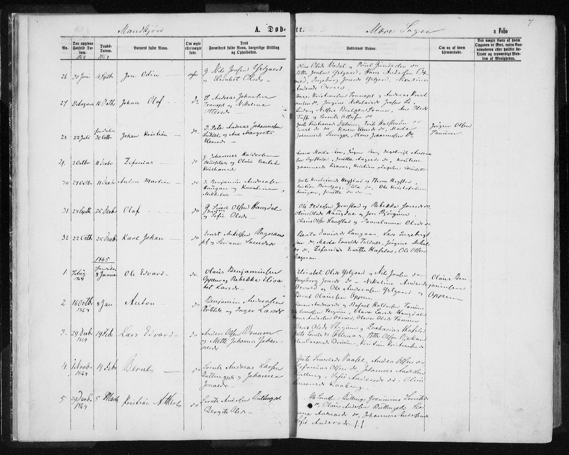 SAT, Ministerialprotokoller, klokkerbøker og fødselsregistre - Nord-Trøndelag, 735/L0345: Ministerialbok nr. 735A08 /1, 1863-1872, s. 7