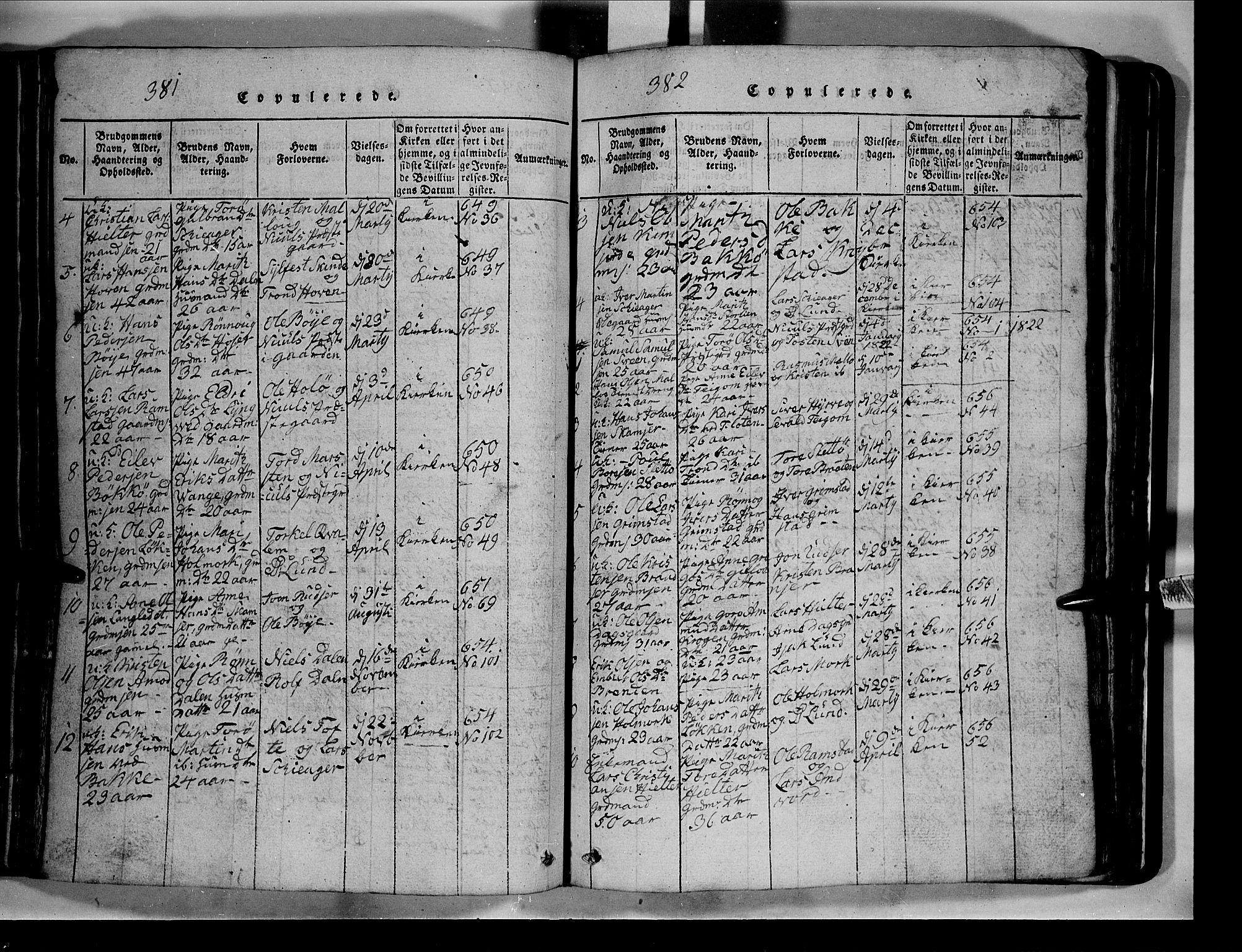 SAH, Lom prestekontor, L/L0003: Klokkerbok nr. 3, 1815-1844, s. 381-382