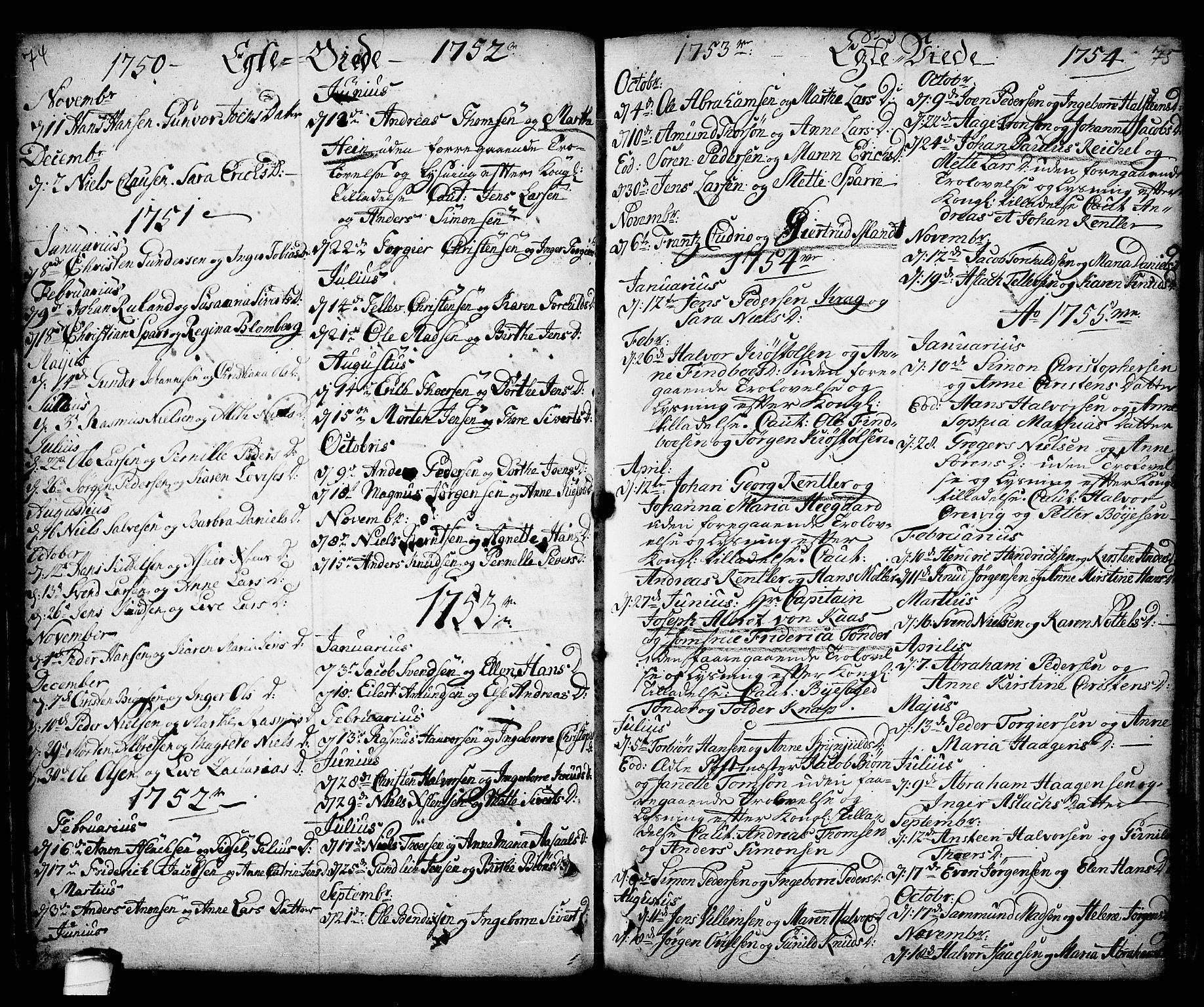 SAKO, Kragerø kirkebøker, F/Fa/L0001: Ministerialbok nr. 1, 1702-1766, s. 74-75