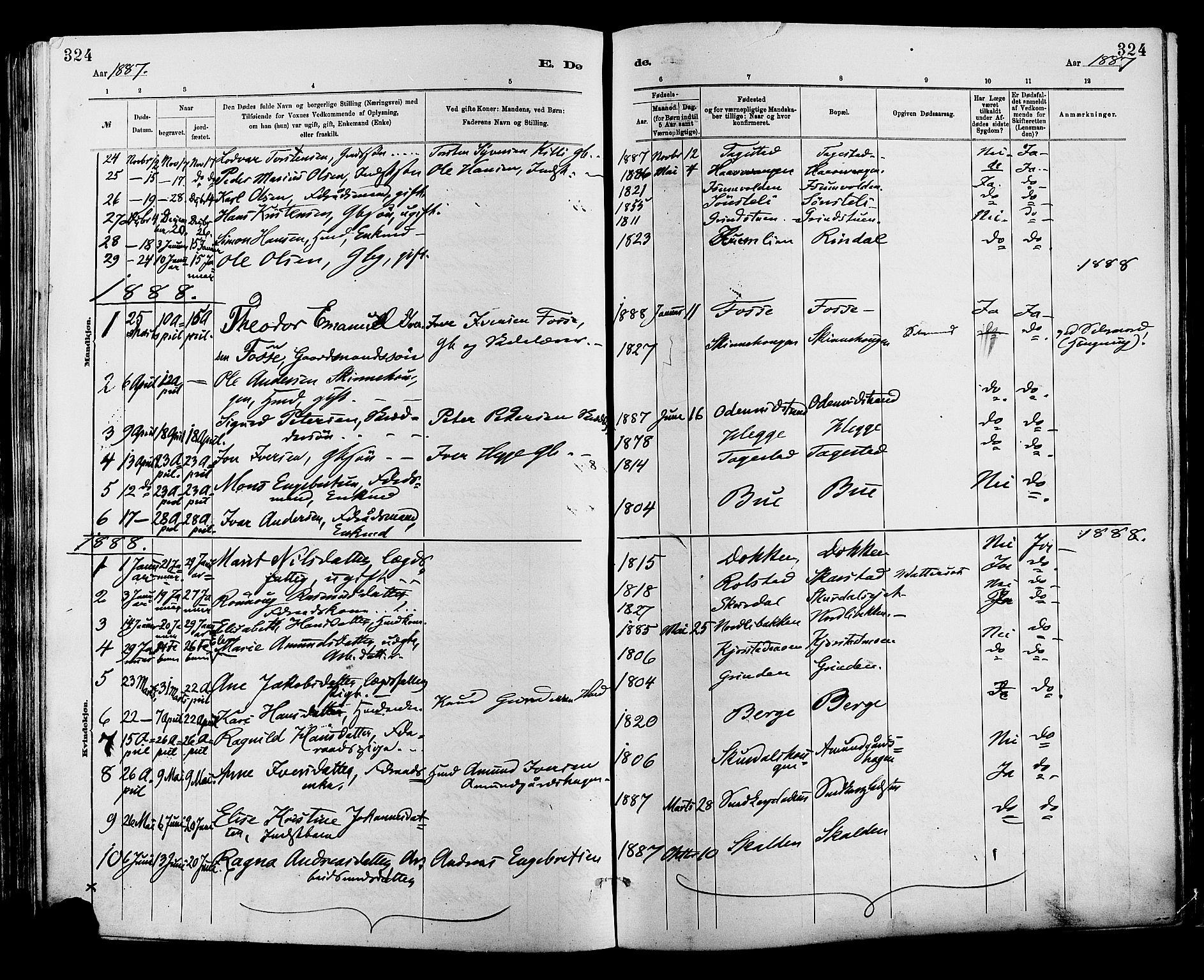 SAH, Sør-Fron prestekontor, H/Ha/Haa/L0003: Ministerialbok nr. 3, 1881-1897, s. 324