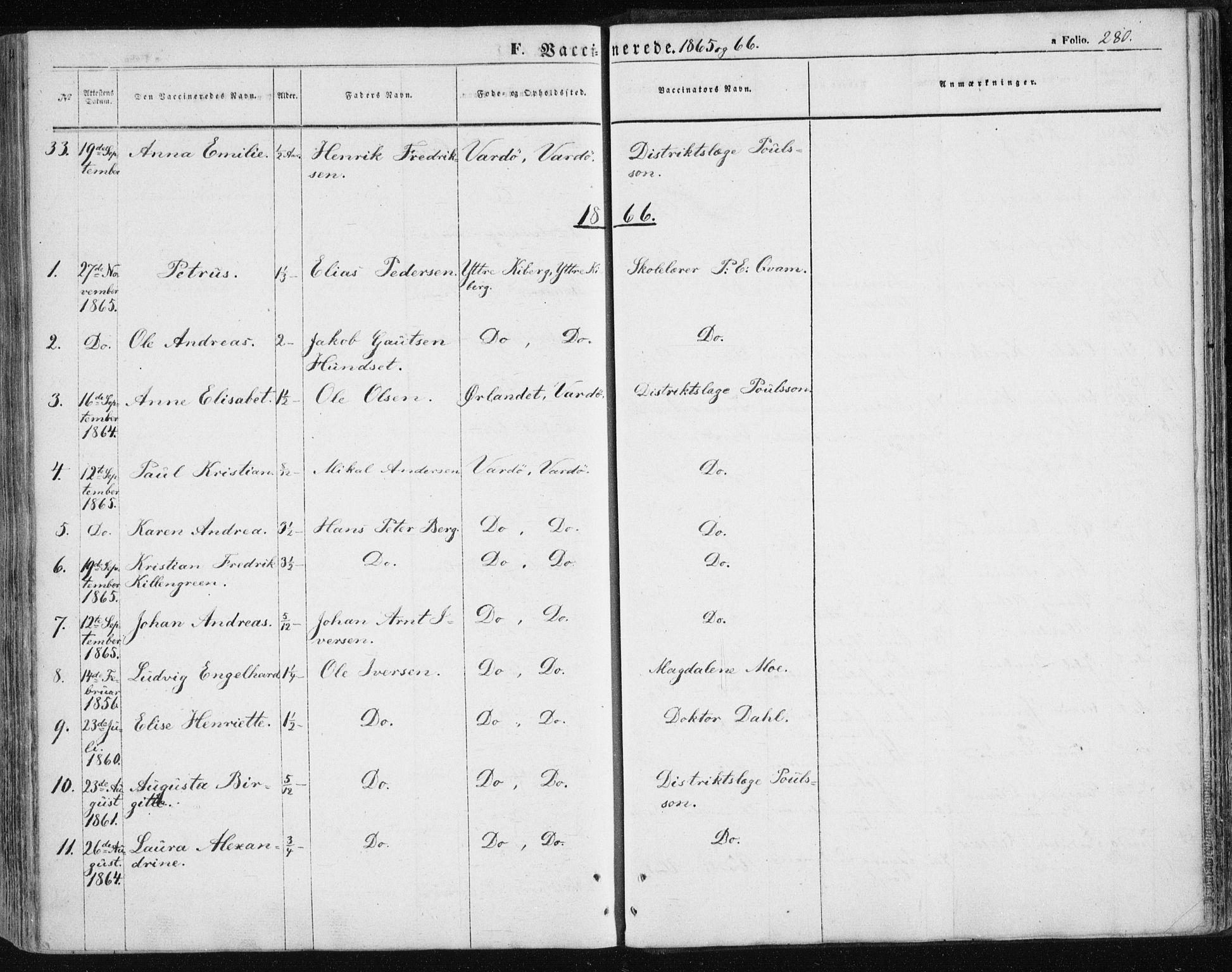 SATØ, Vardø sokneprestkontor, H/Ha/L0004kirke: Ministerialbok nr. 4, 1862-1871, s. 280