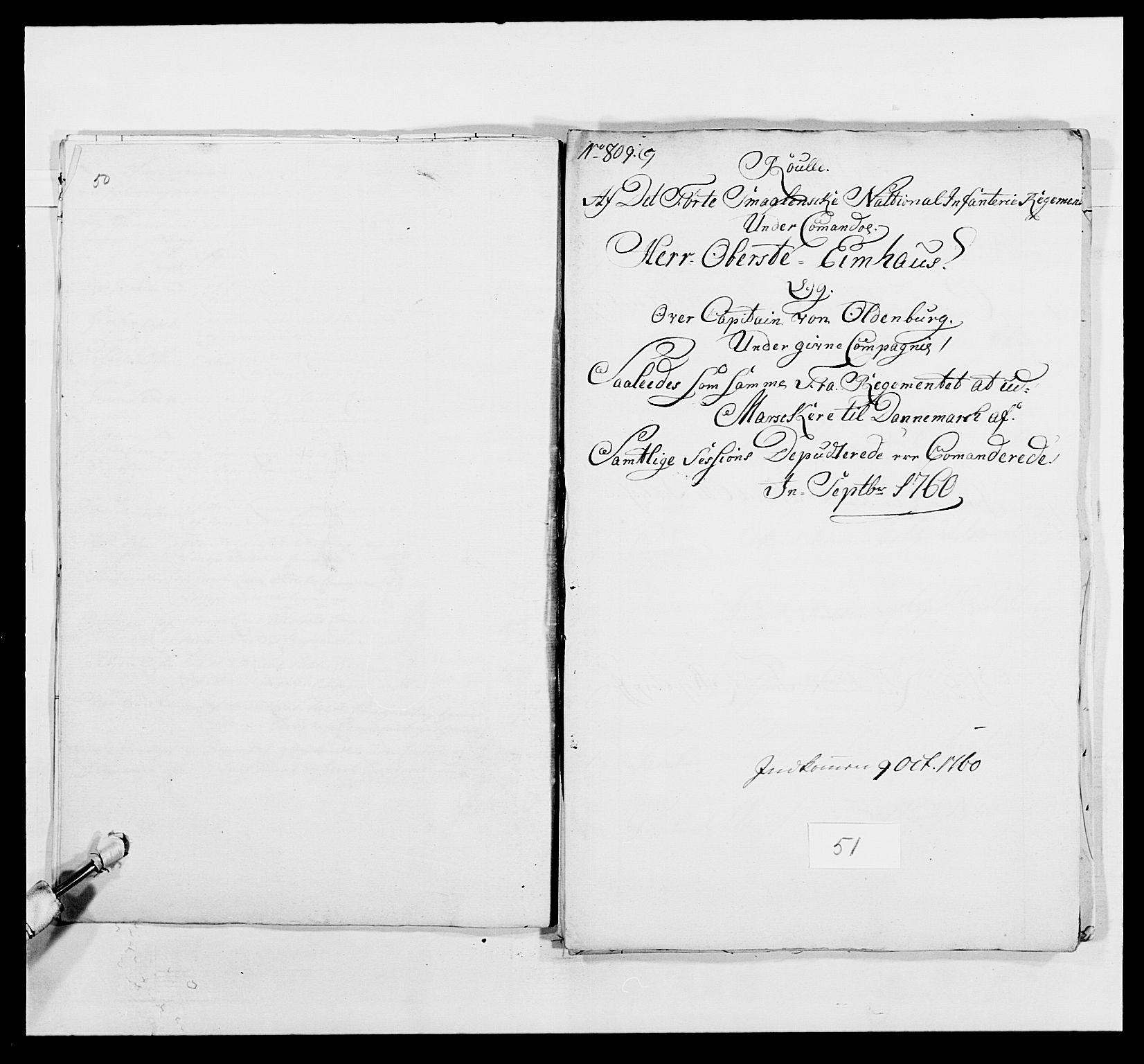 RA, Kommanderende general (KG I) med Det norske krigsdirektorium, E/Ea/L0495: 1. Smålenske regiment, 1732-1763, s. 673