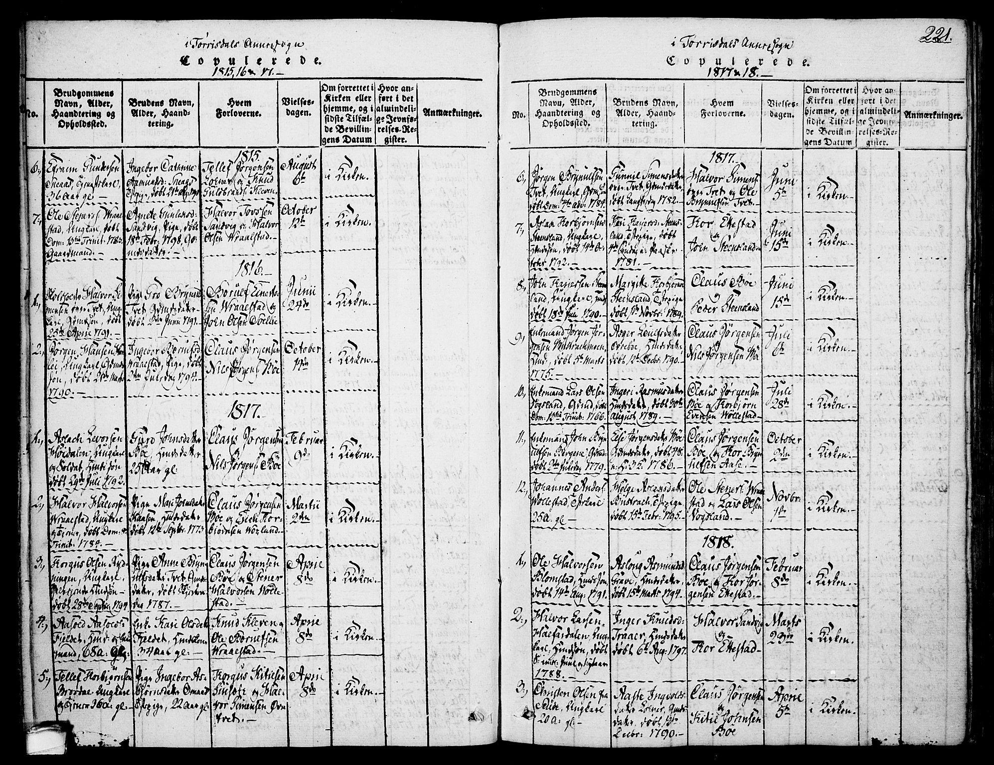 SAKO, Drangedal kirkebøker, F/Fa/L0005: Ministerialbok nr. 5 /2, 1814-1831, s. 221