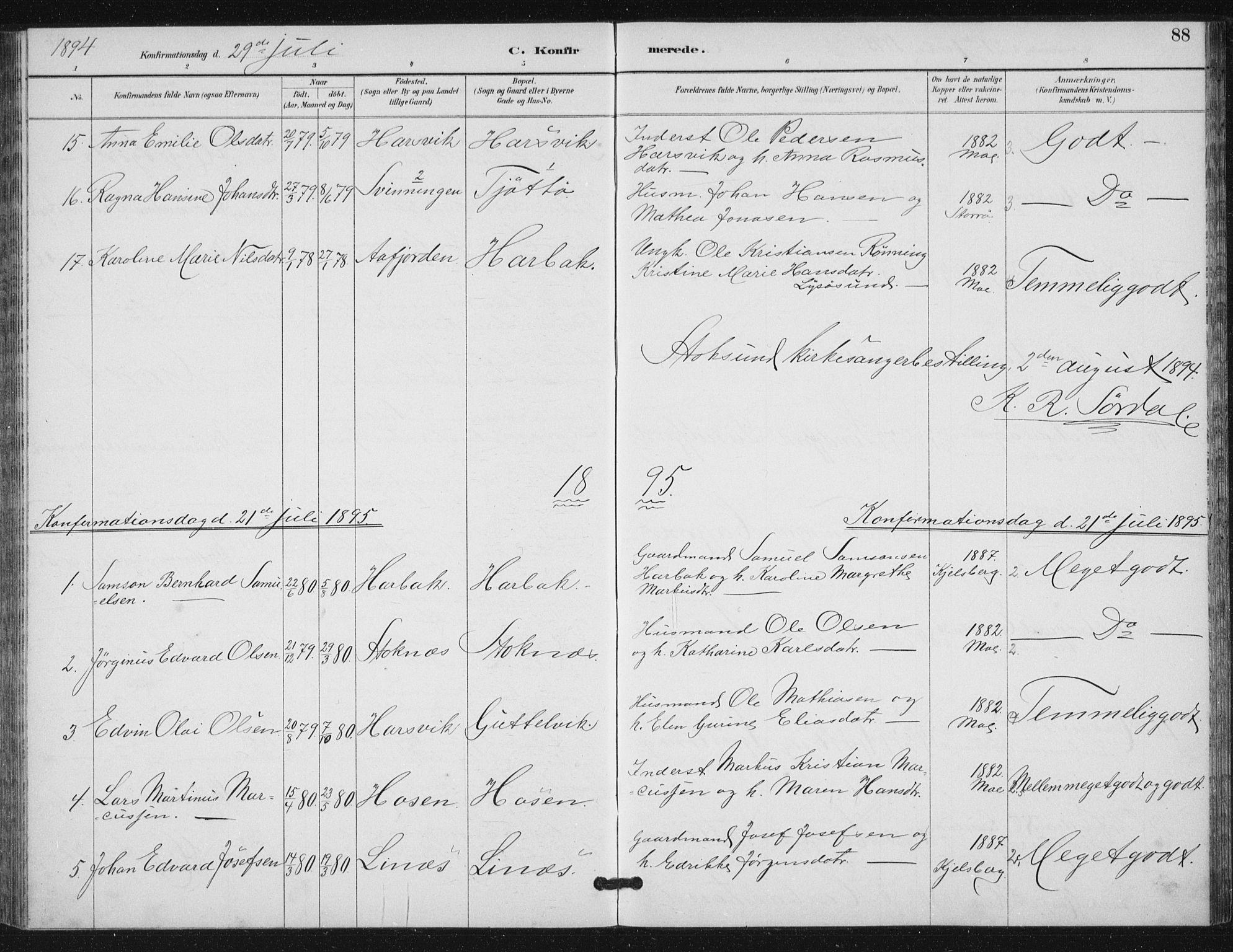SAT, Ministerialprotokoller, klokkerbøker og fødselsregistre - Sør-Trøndelag, 656/L0698: Klokkerbok nr. 656C04, 1890-1904, s. 88