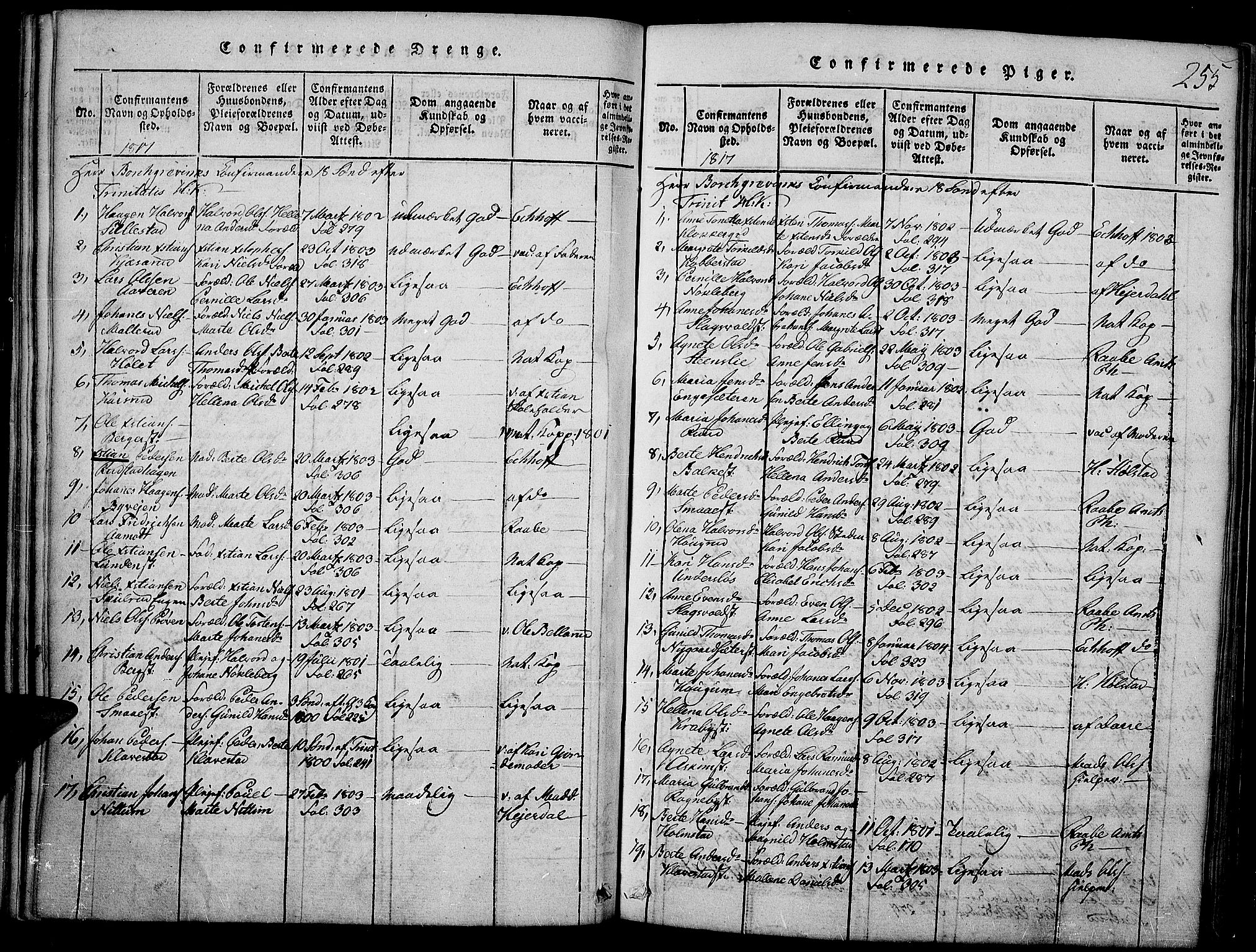 SAH, Toten prestekontor, Ministerialbok nr. 9, 1814-1820, s. 255